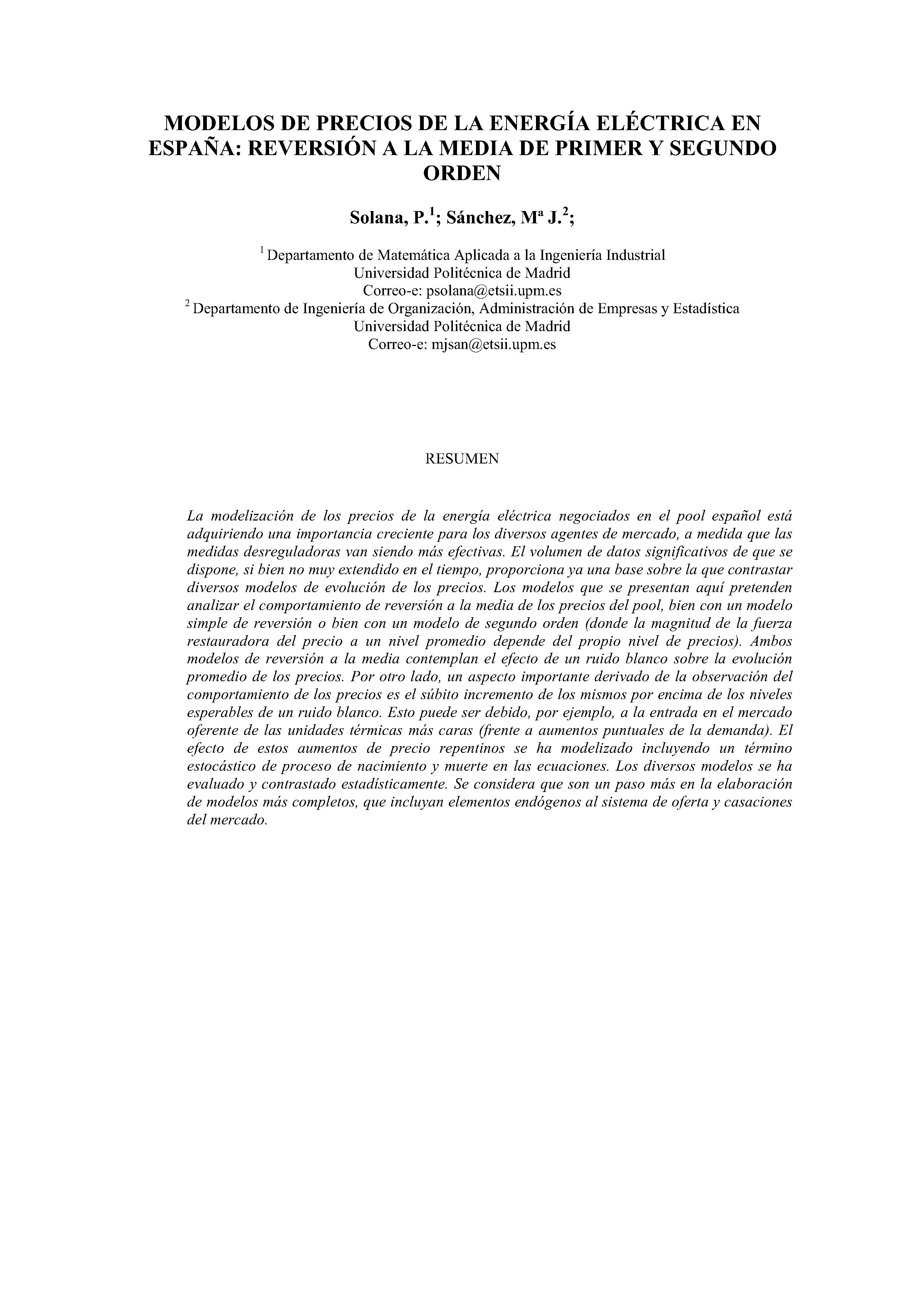 MODELOS DE PRECIOS DE LA ENERGÍA ELECTRICA EN ESPAÑA: REVERSIÓN A LA MEDIA DE PRIMER Y SEGUNDO ORDEN