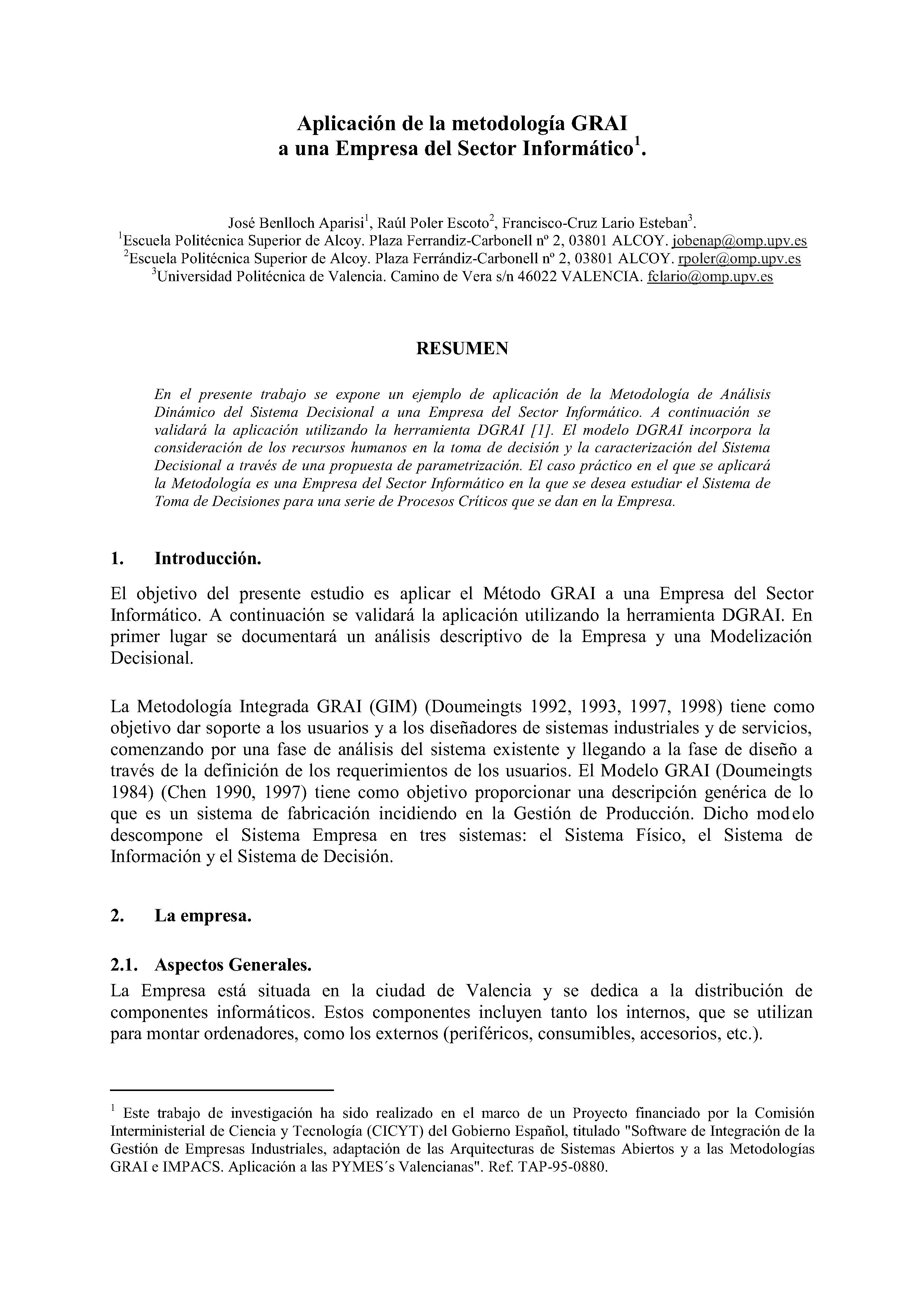 Aplicación de la metodología GRAI a una Empresa del Sector Informático.