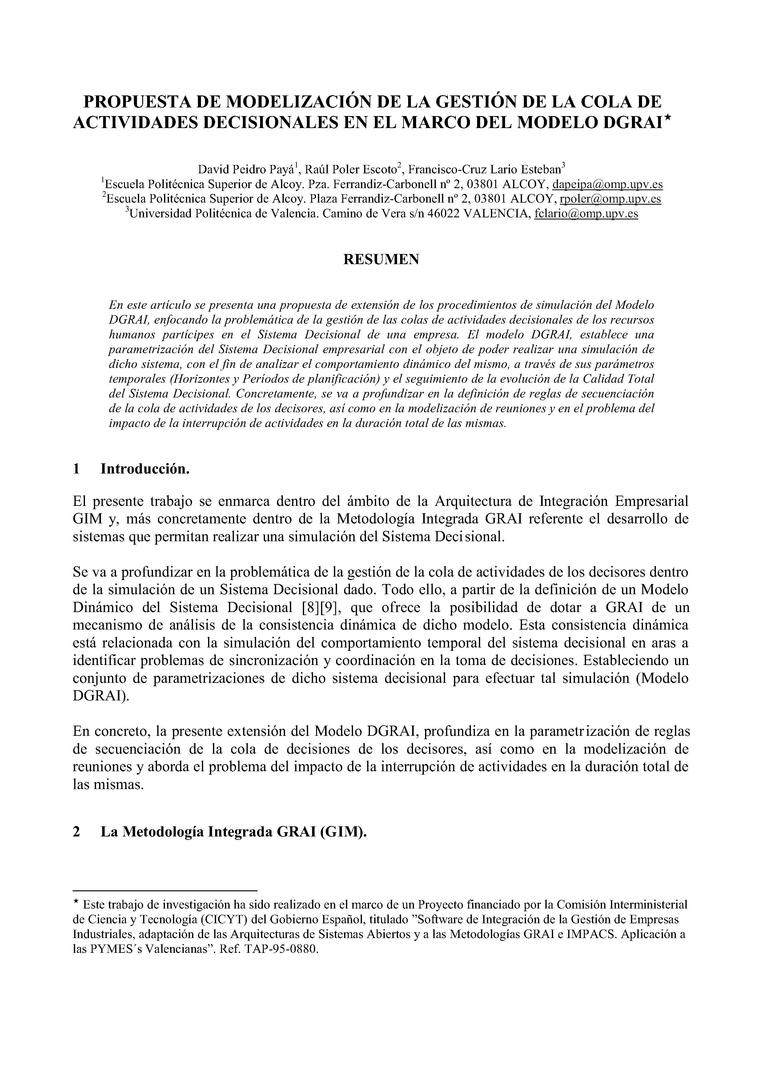 PROPUESTA DE MODELIZACIÓN DE LA GESTIÓN DE LA COLA DE ACTIVIDADES DECISIONALES EN EL MARCO DEL MODELO DGRAI*