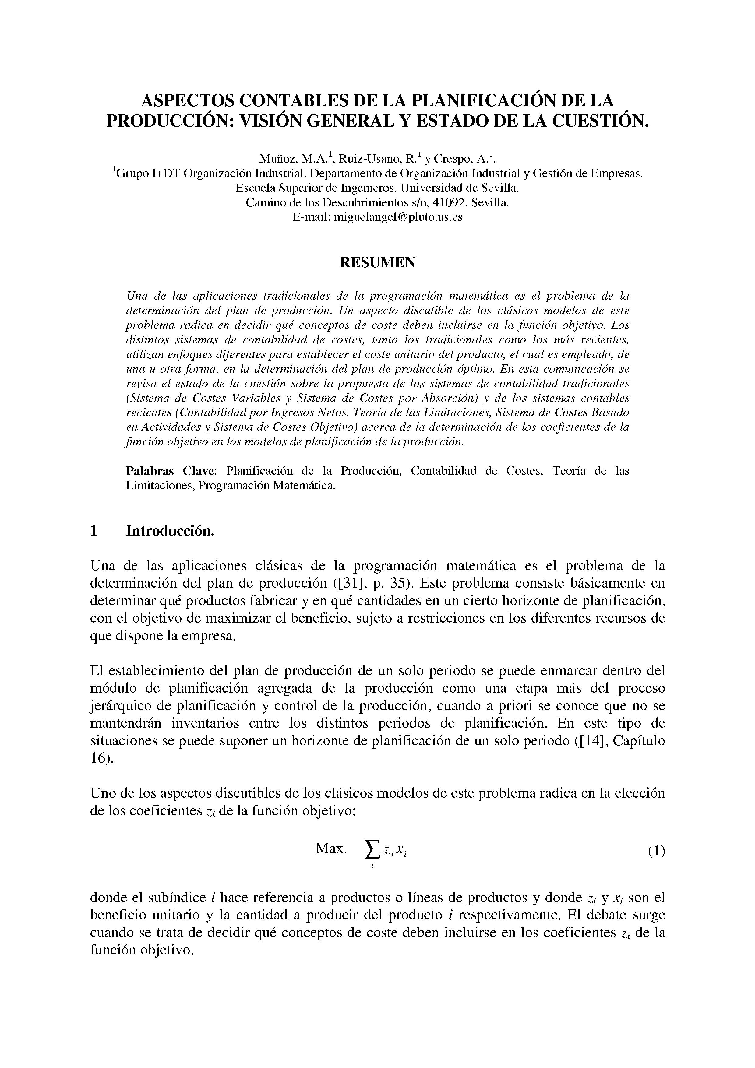 ASPECTOS CONTABLES DE LA PLANIFICACIÓN DE LA PRODUCCION: VISION GENERAL Y ESTADO DE LA CUESTION.