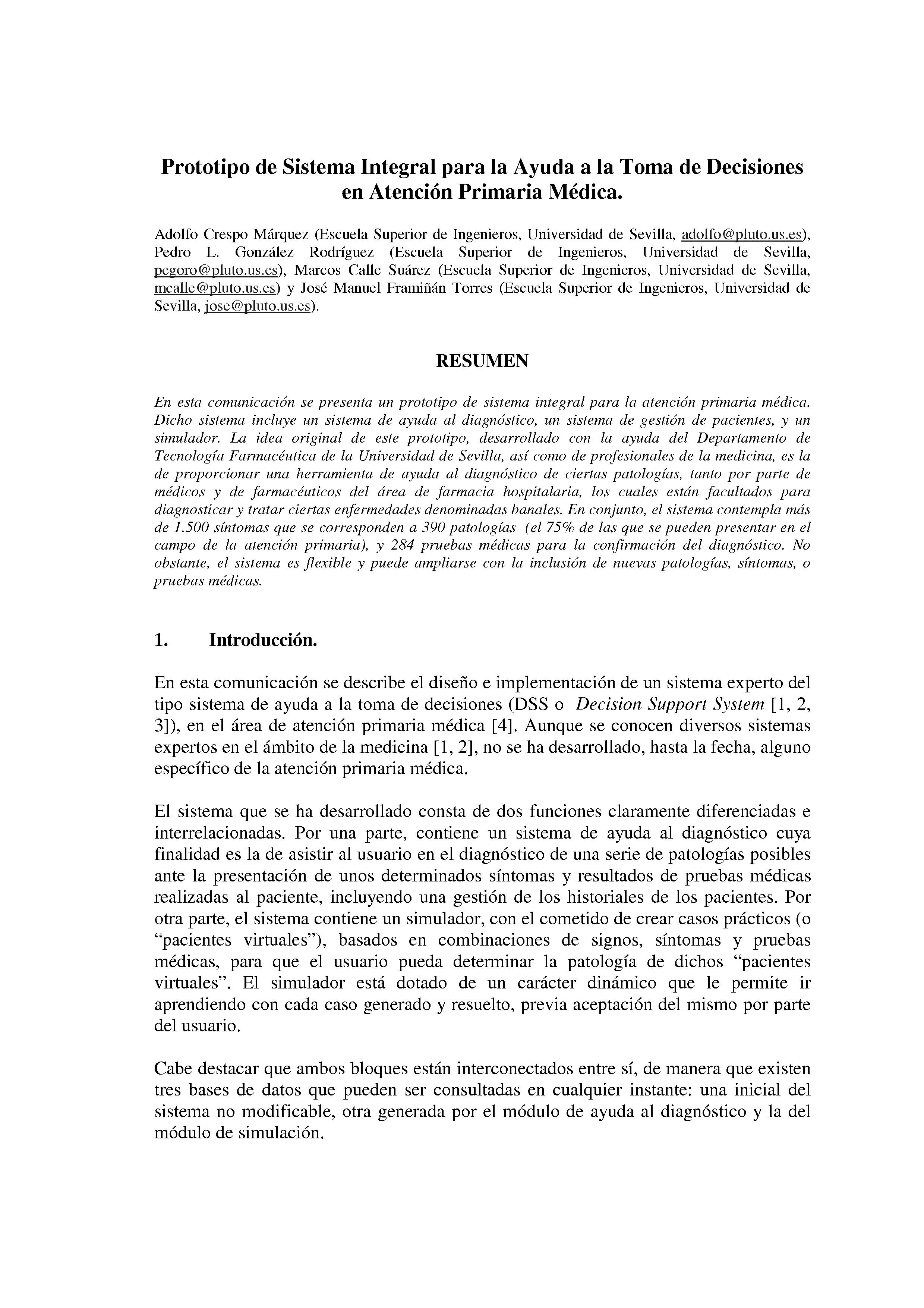 Prototipo de Sistema Integral para la Ayuda a la Toma de Decisiones en Atención Primaria Médica.