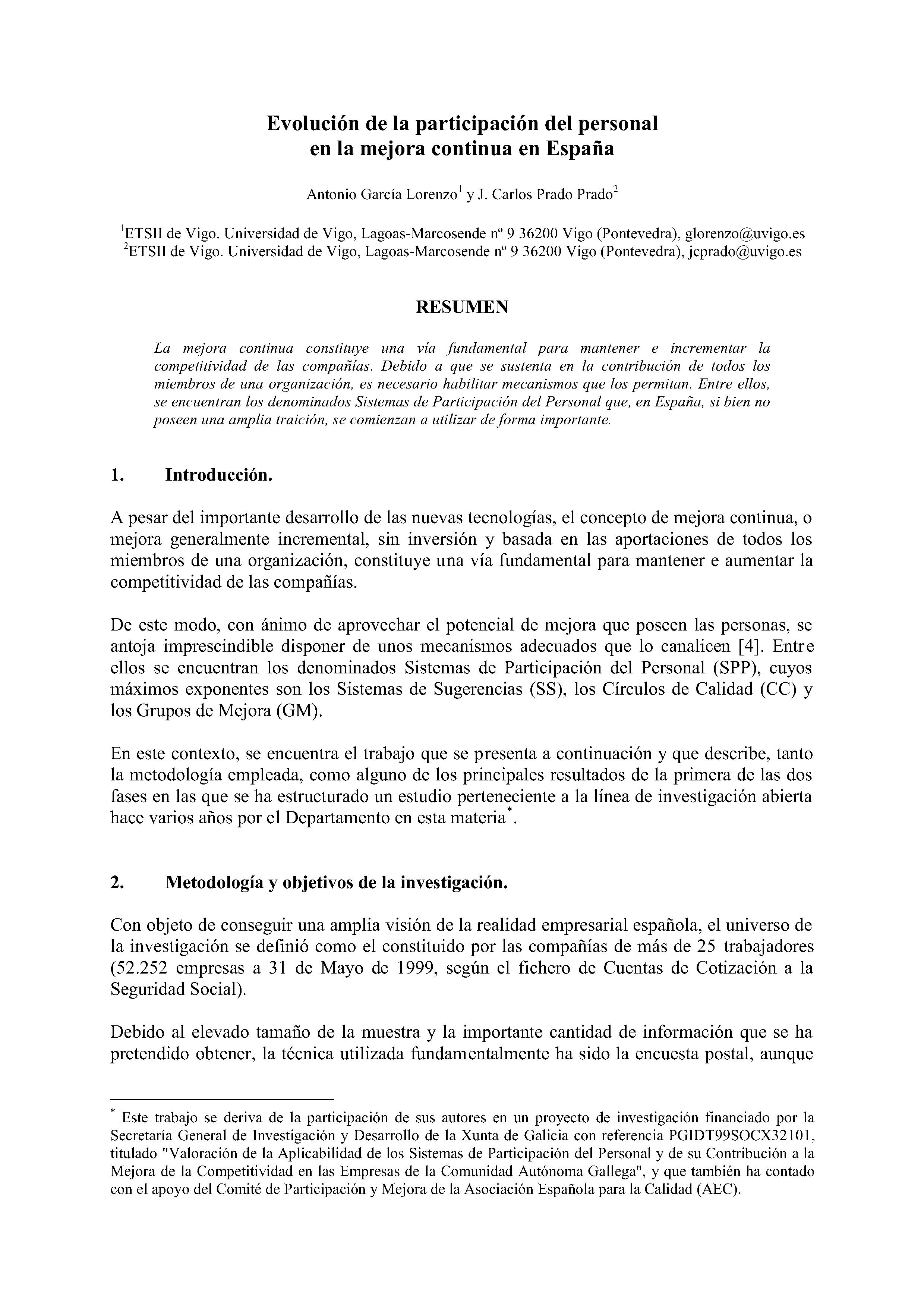 Evolución de la participación del personal en la mejora continua en España