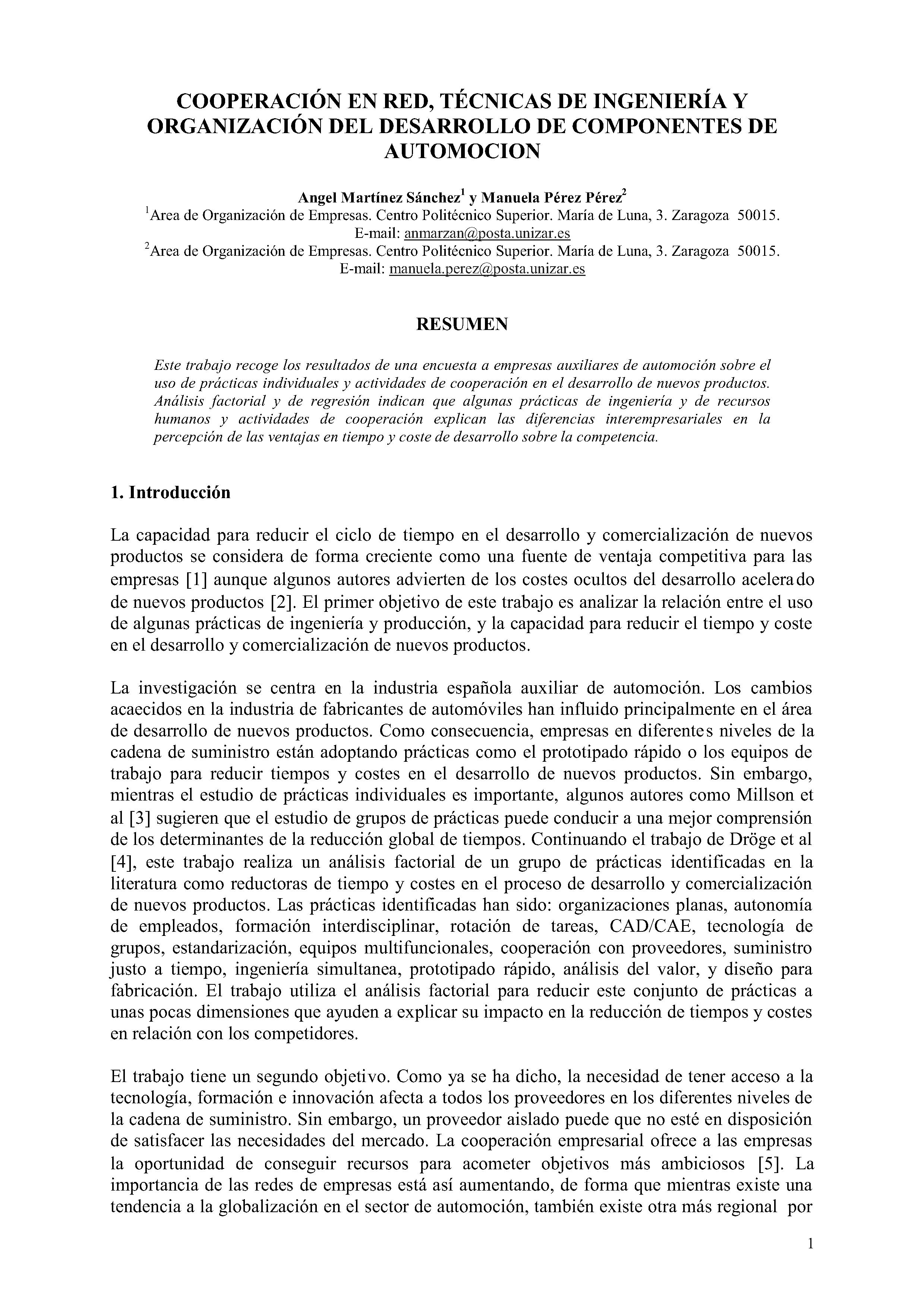COOPERACIÓN EN RED, TÉCNICAS DE INGENIERÍA Y ORGANIZACIÓN DEL DESARROLLO DE COMPONENTES DE AUTOMOCION
