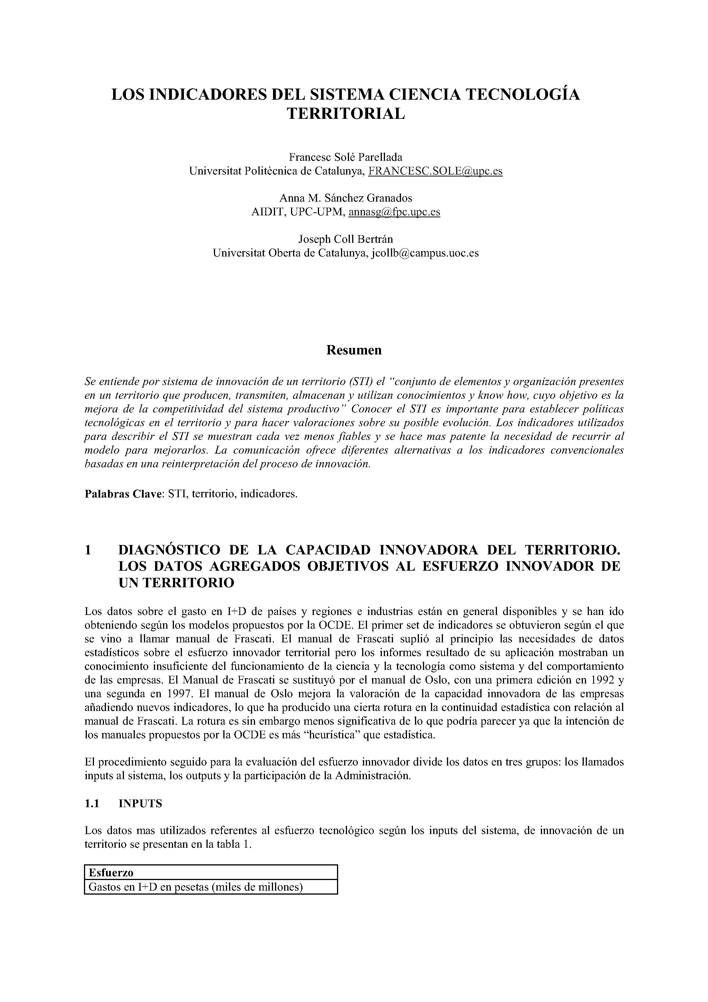 LOS INDICADORES DEL SISTEMA CIENCIA TECNOLOGÍA TERRITORIAL