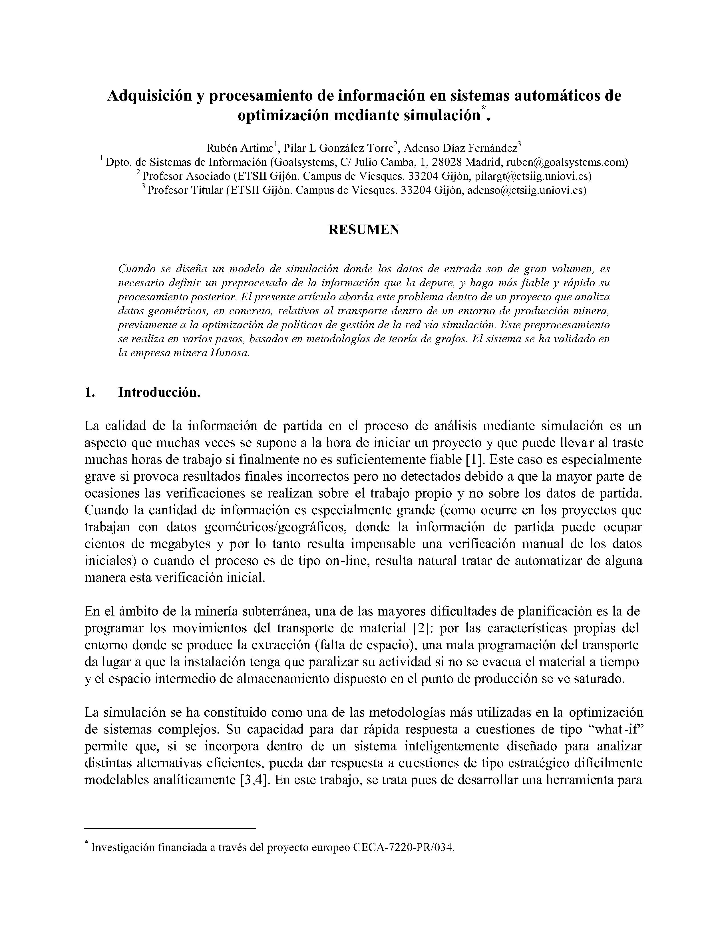 Adquisición y procesamiento de información en sistemas automáticos de optimizacion mediante simulacion.