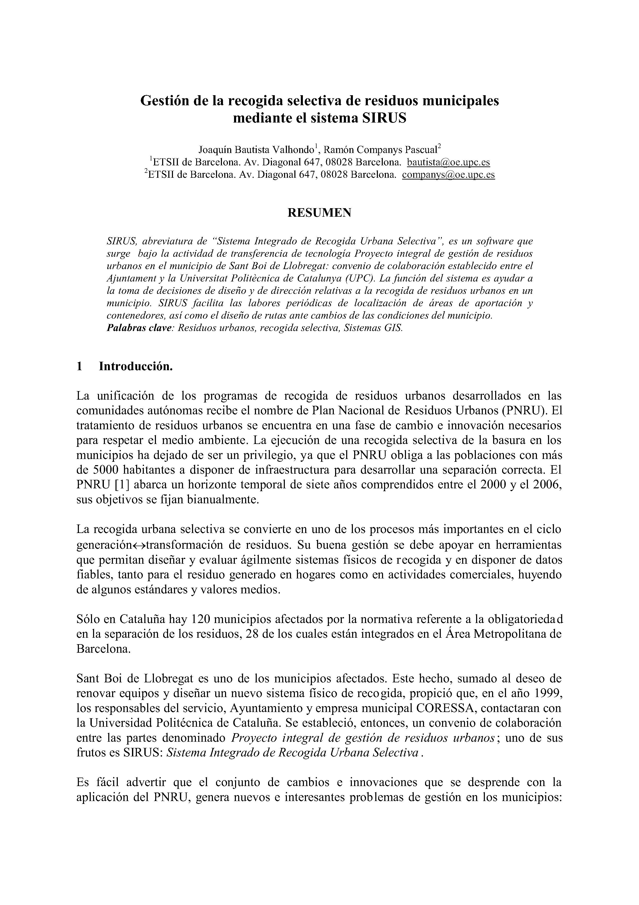Gestión de la recogida selectiva de residuos municipales mediante el sistema SIRUS