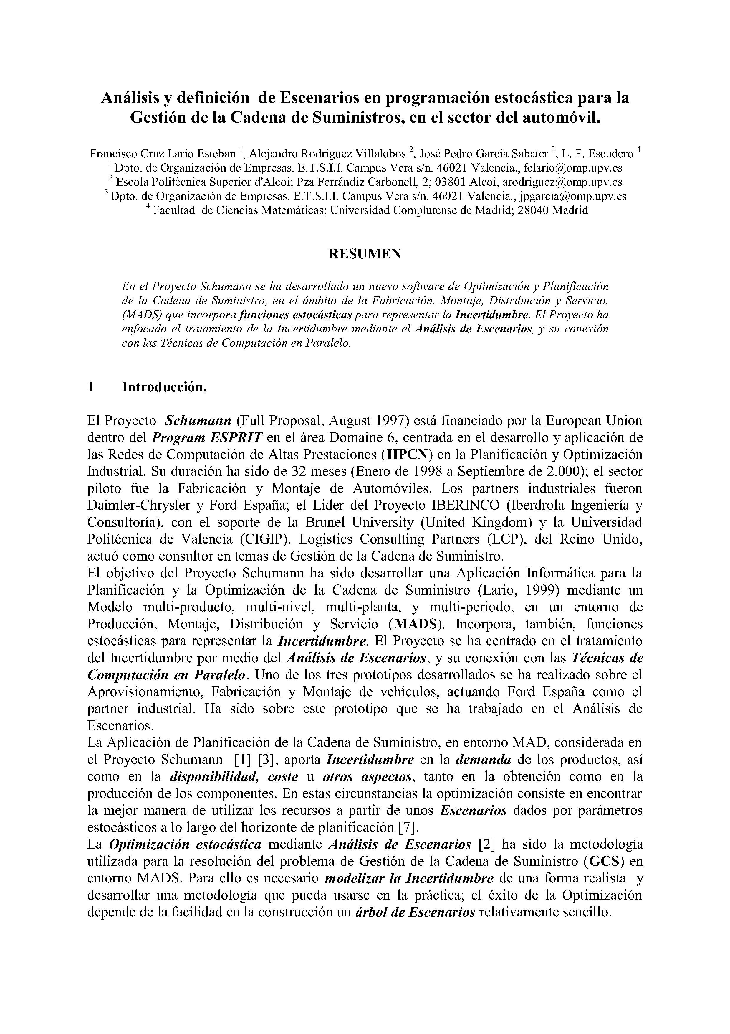 Análisis y definición de Escenarios en programación estocástica para la Gestión de la Cadena de Suministros, en el sector del automóvil.
