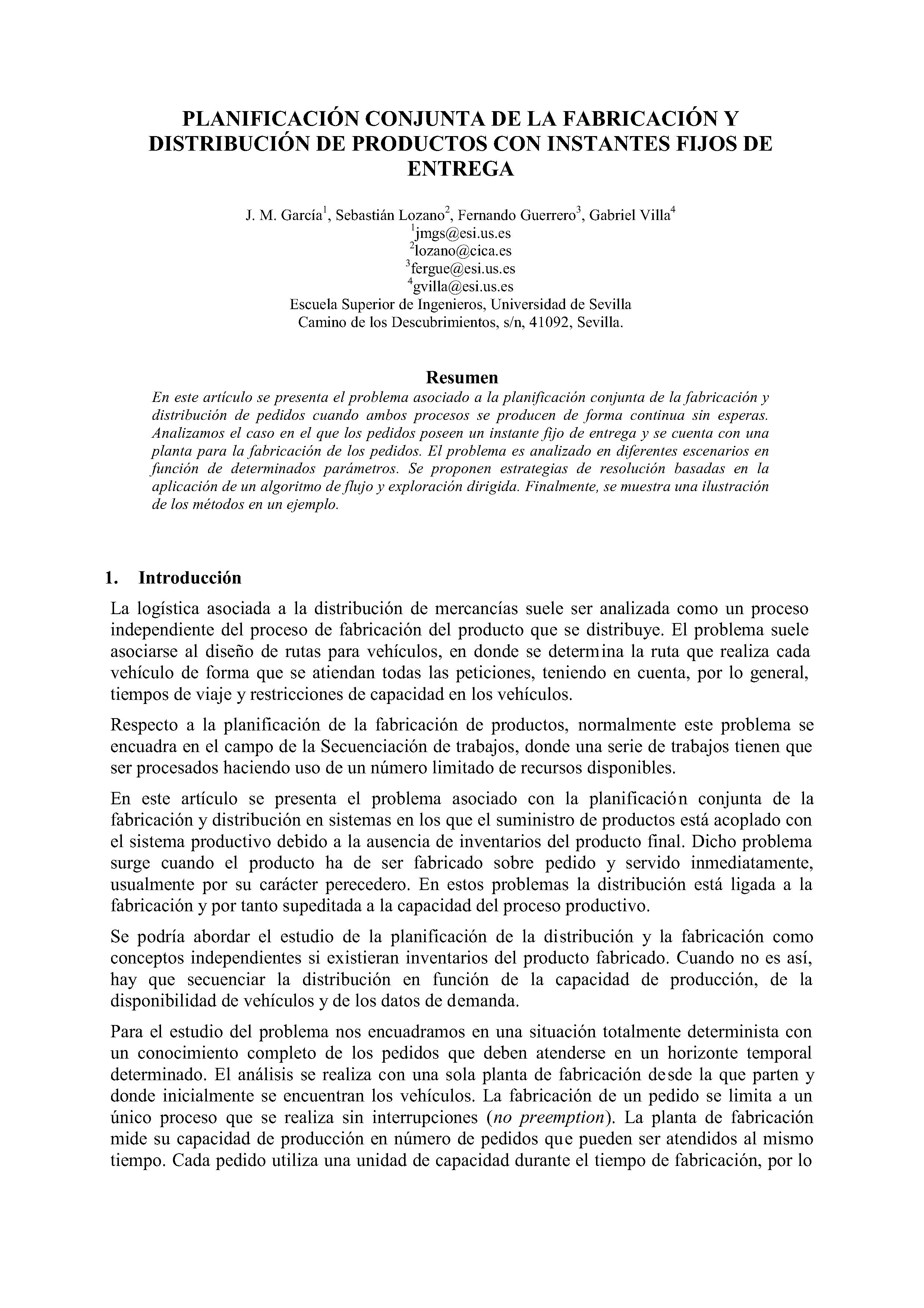 PLANIFICACIÓN CONJUNTA DE LA FABRICACIÓN Y DISTRIBUCIÓN DE PRODUCTOS CON INsTANTEs FIJOS DE ENTREGA
