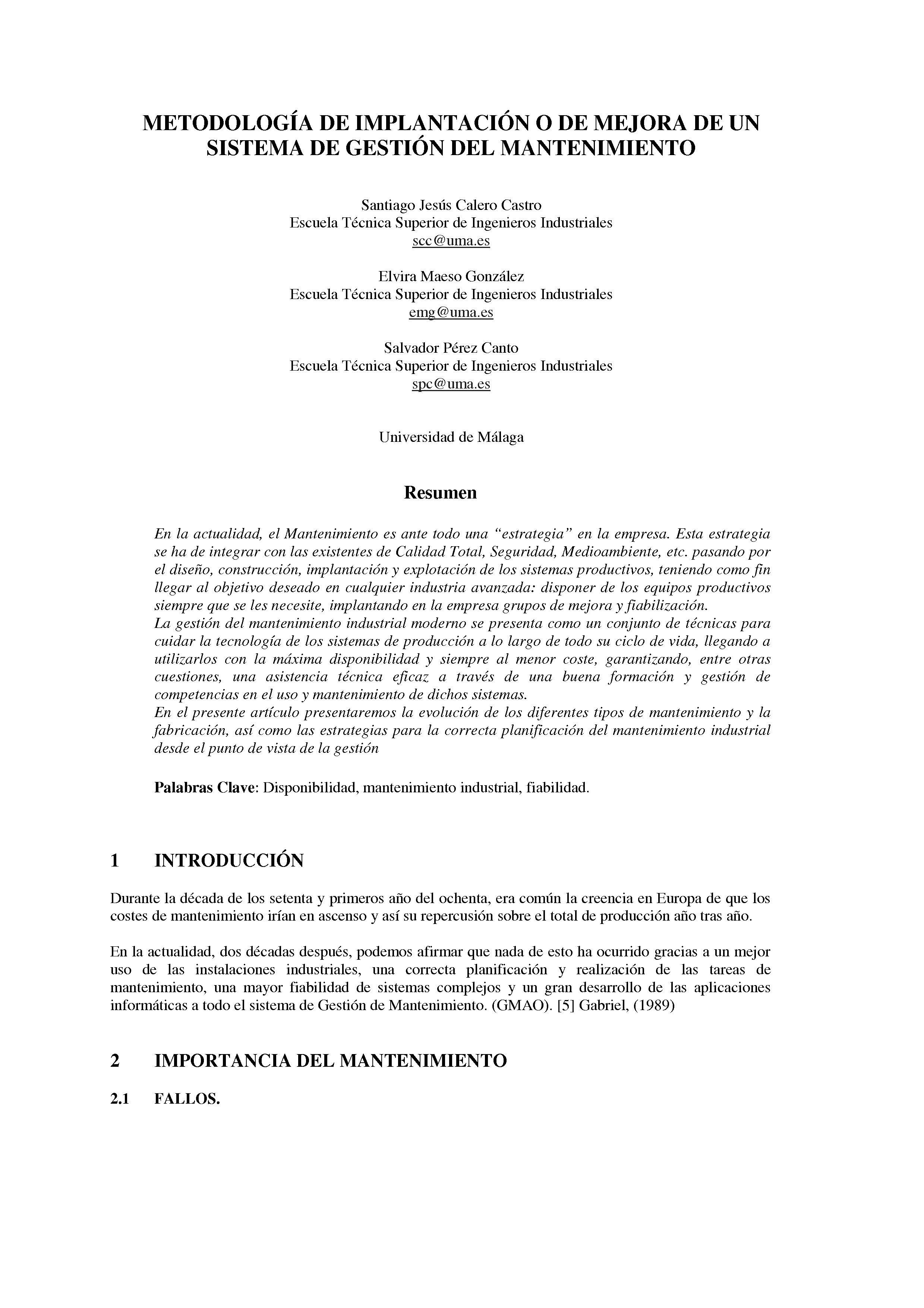 METODOLOGÍA DE IMPLANTACION O DE MEJORA DE UN SISTEMA DE GESTION DEL MANTENIMIENTO