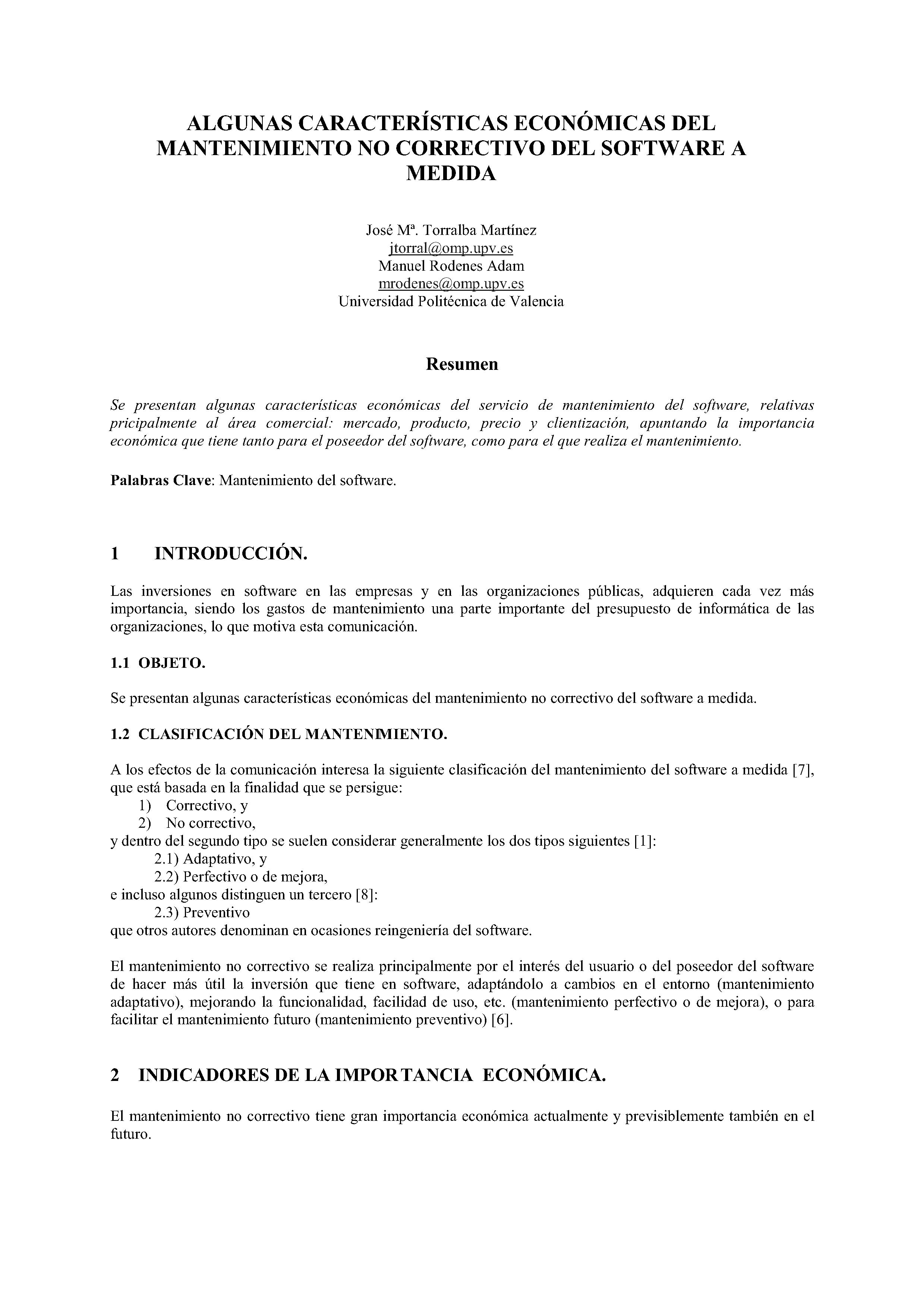 ALGUNAS CARACTERÍSTICAS ECONÓMICAS DEL MANTENIMIENTO NO CORRECTIVO DEL SOFTWARE A MEDIDA