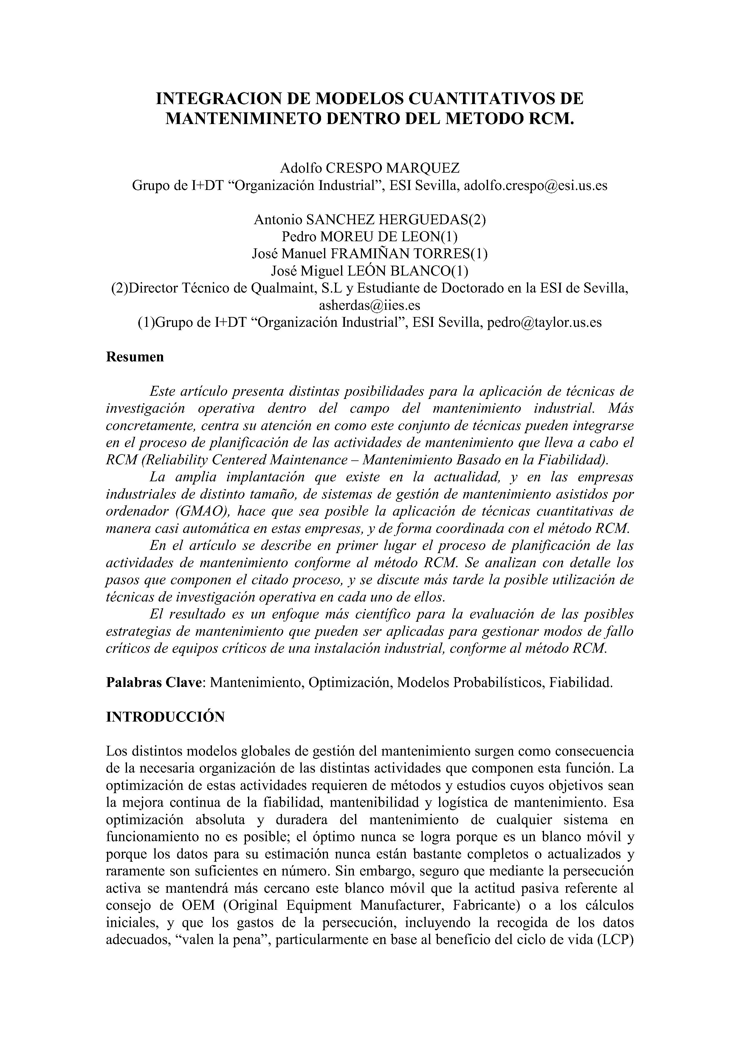 INTEGRACION DE MODELOS CUANTITATIVOS DE MANTENIMINETO DENTRO DEL METODO RCM.