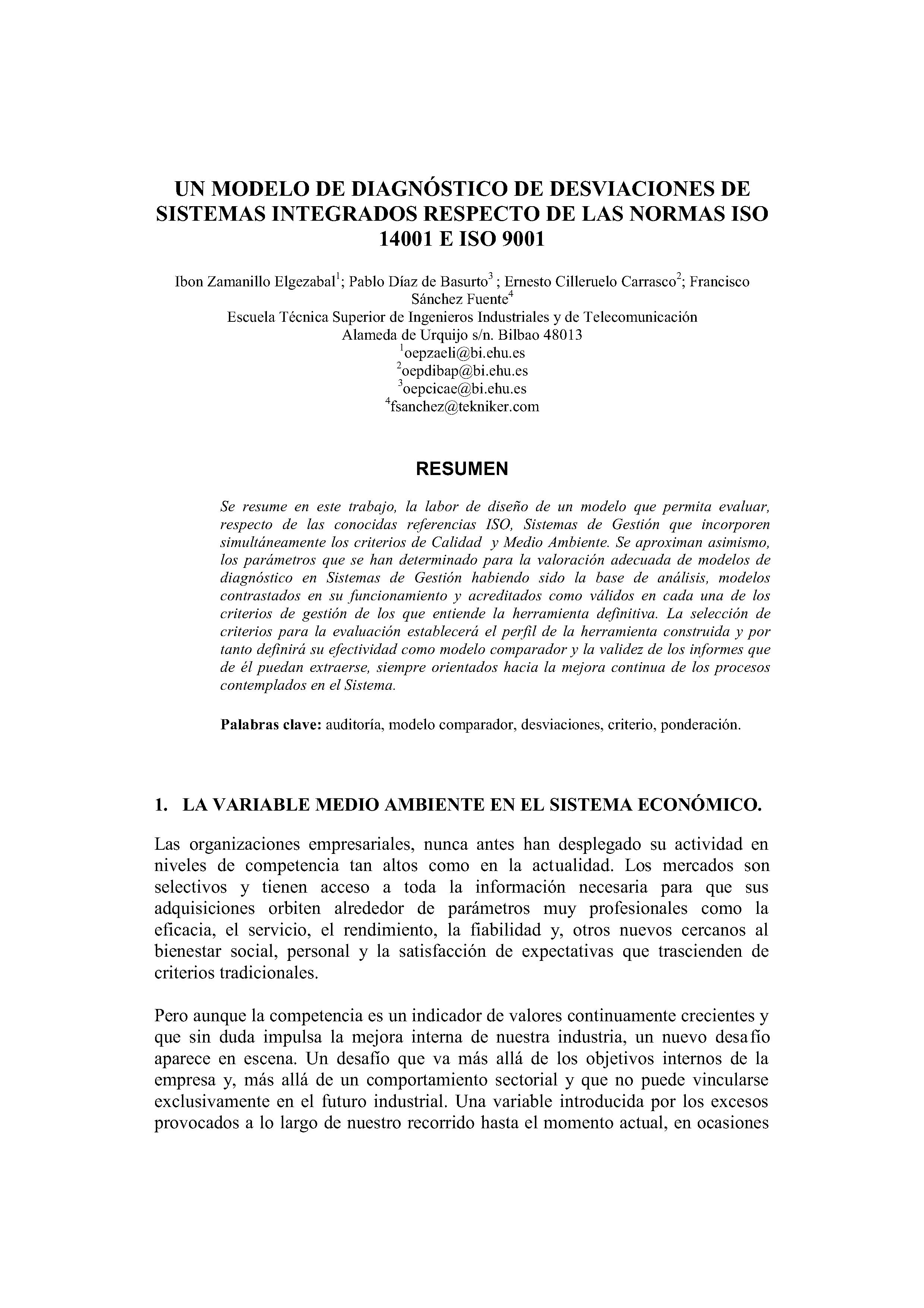 UN MODELO DE DIAGNÓSTICO DE DESVIACIONES DE SISTEMAS INTEGRADOS RESPECTO DE LAS NORMAS ISO 14001 E ISO 9001