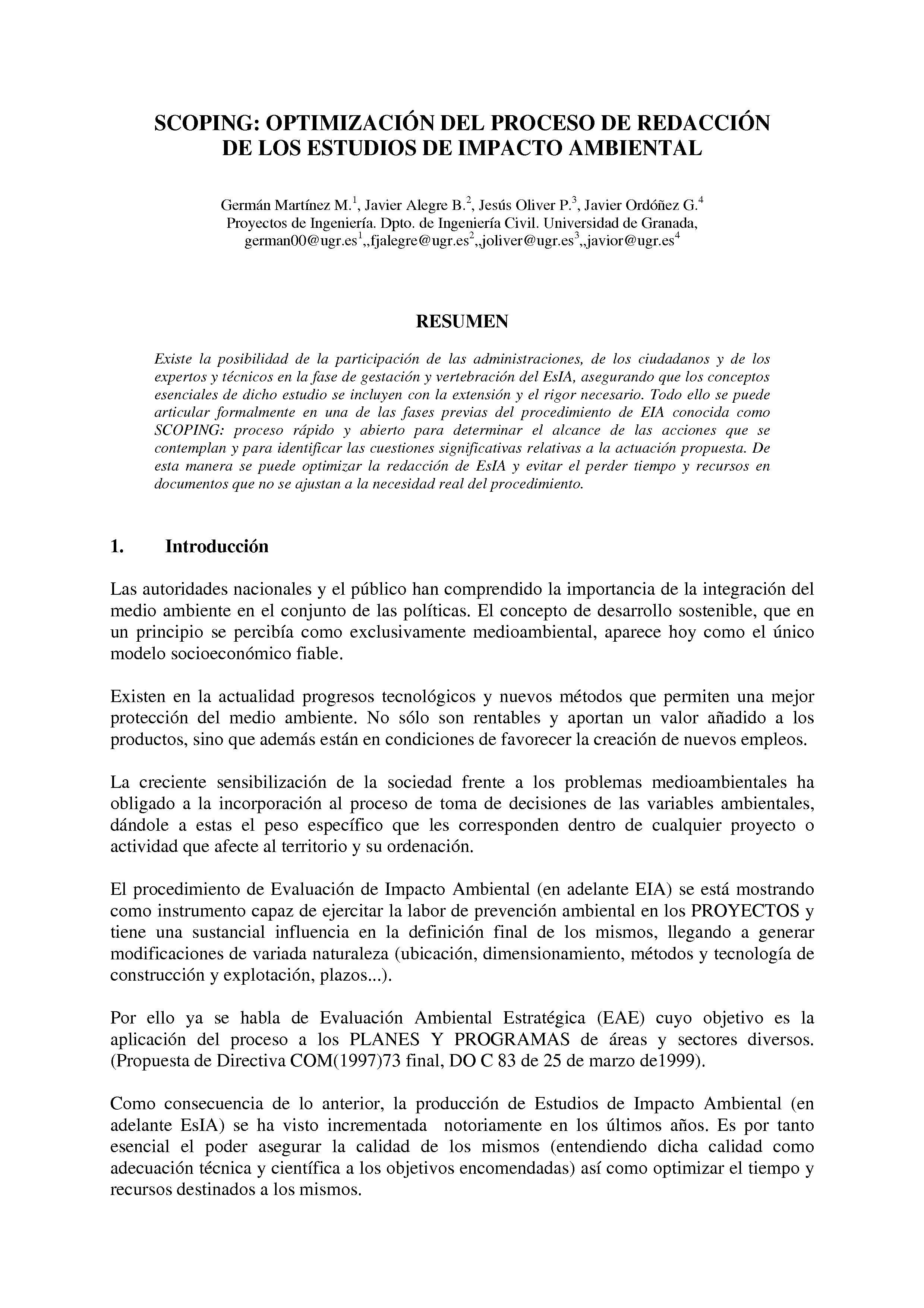 SCOPING: OPTIMIZACIÓN DEL PROCESO DE REDACCIÓN DE LOS ESTUDIOS DE IMPACTO AMBIENTAL