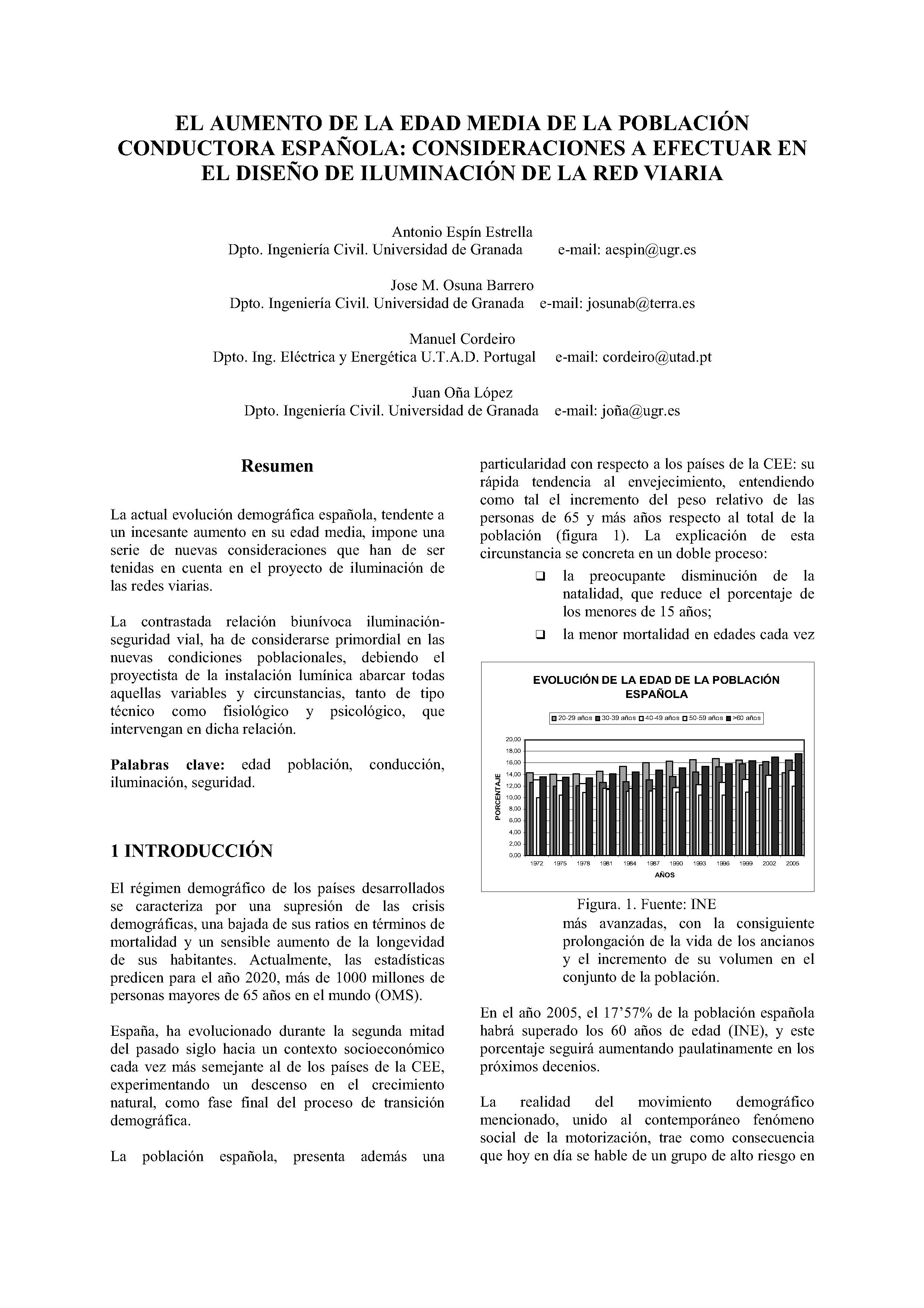EL AUMENTO DE LA EDAD MEDIA DE LA POBLACIÓN CONDUCTORA ESPAÑOLA: CONSIDERACIONES A EFECTUAR EN EL DISEÑO DE ILUMINACIÓN DE LA RED VIARIA