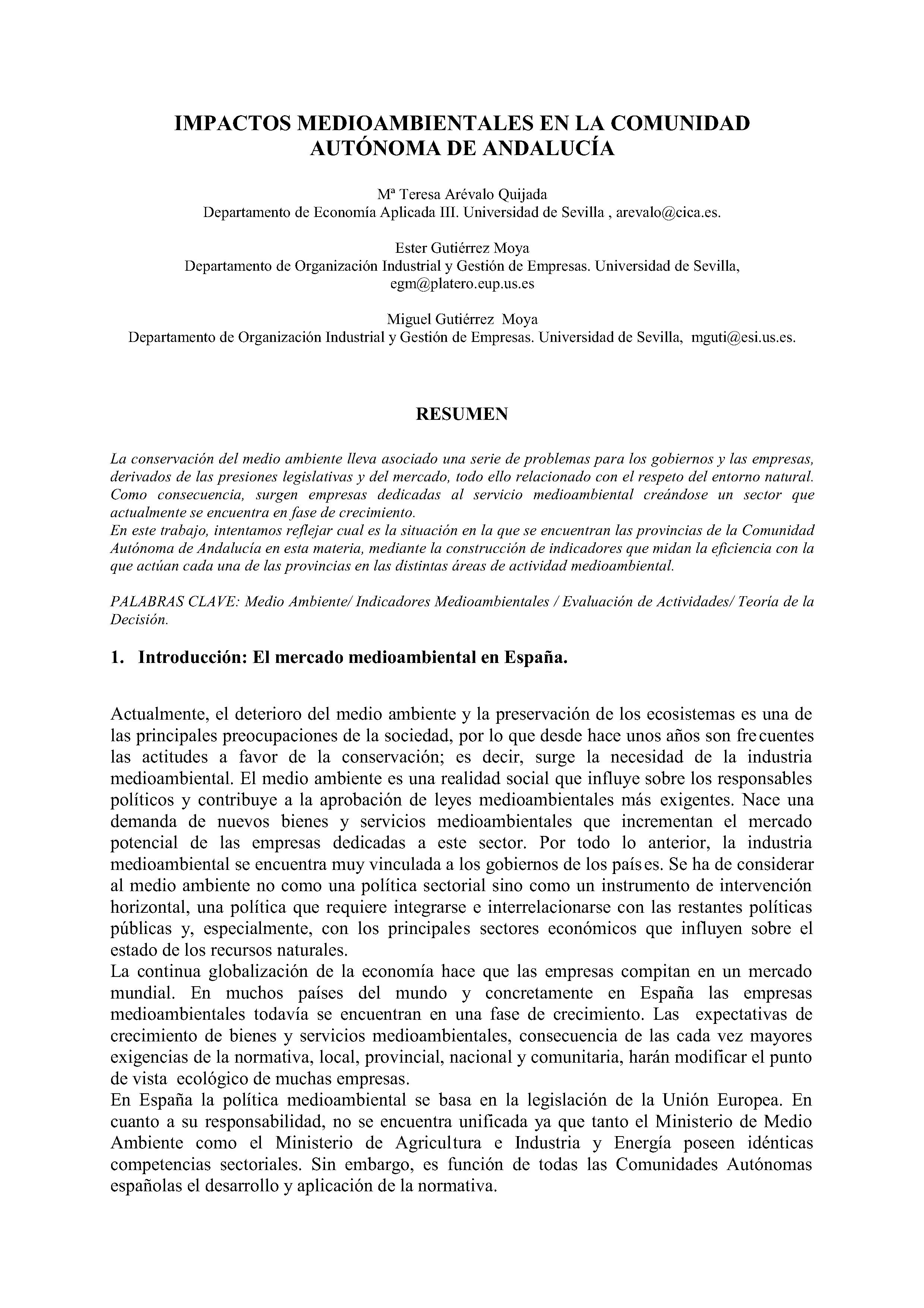 IMPACTOS MEDIOAMBIENTALES EN LA COMUNIDAD AUTÓNOMA DE ANDALUCÍA