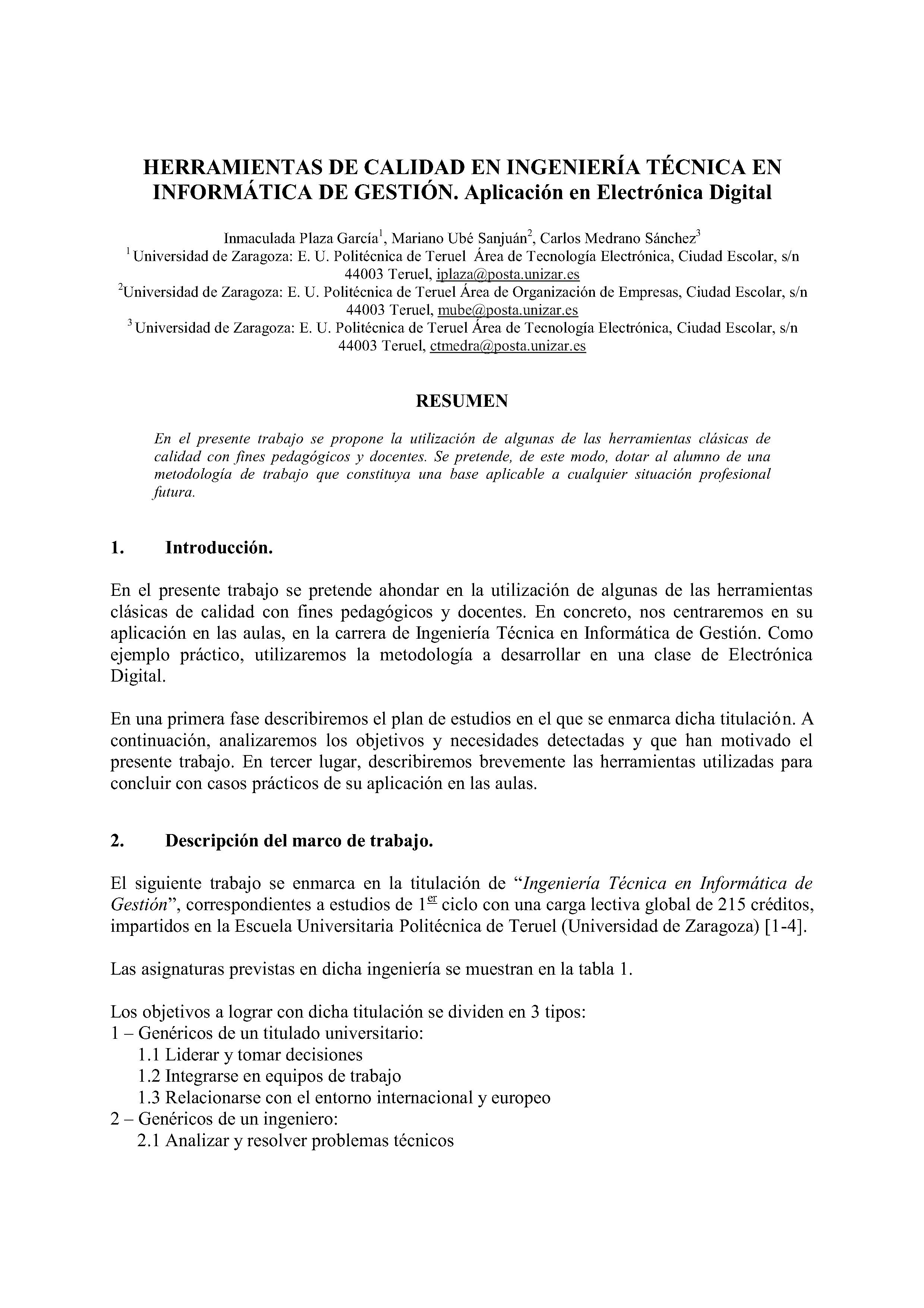 HERRAMIENTAS DE CALIDAD EN INGENIERÍA TECNICA EN INFORMATICA DE GESTION. Aplicación en Electrónica Digital