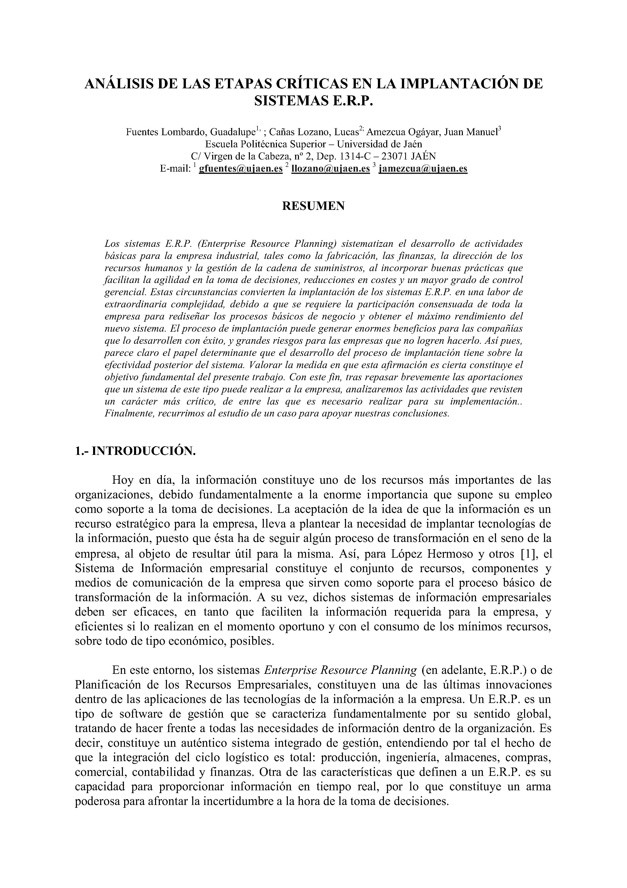 ANÁLISIS DE LAS ETAPAS CRÍTICAS EN LA IMPLANTACIÓN DE SISTEMAS E.R.P.