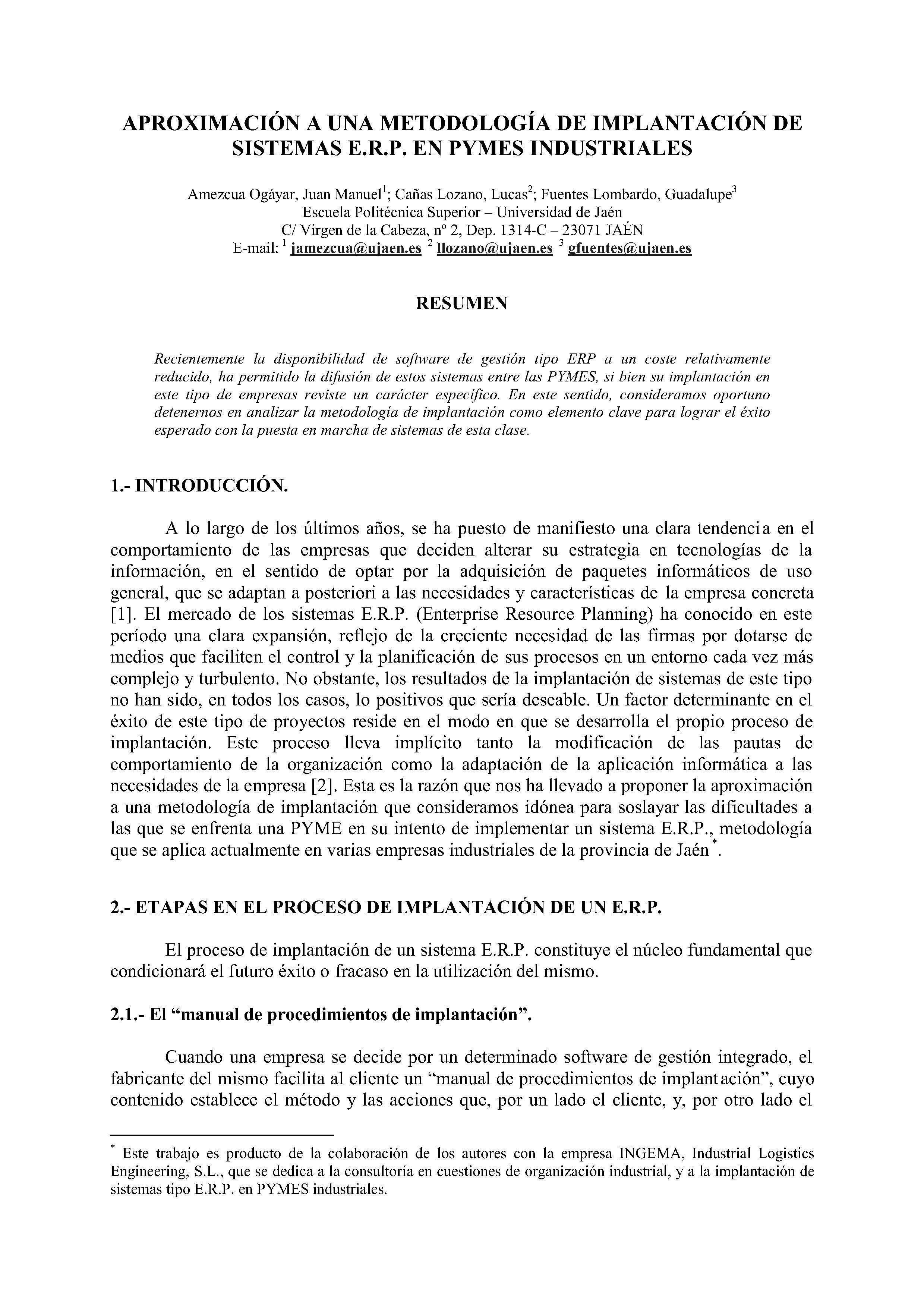 APROXIMACION A UNA METODOLOGÍA DE IMPLANTACIÓN DE SISTEMAS E.R.P. EN PYMES INDUSTRIALES