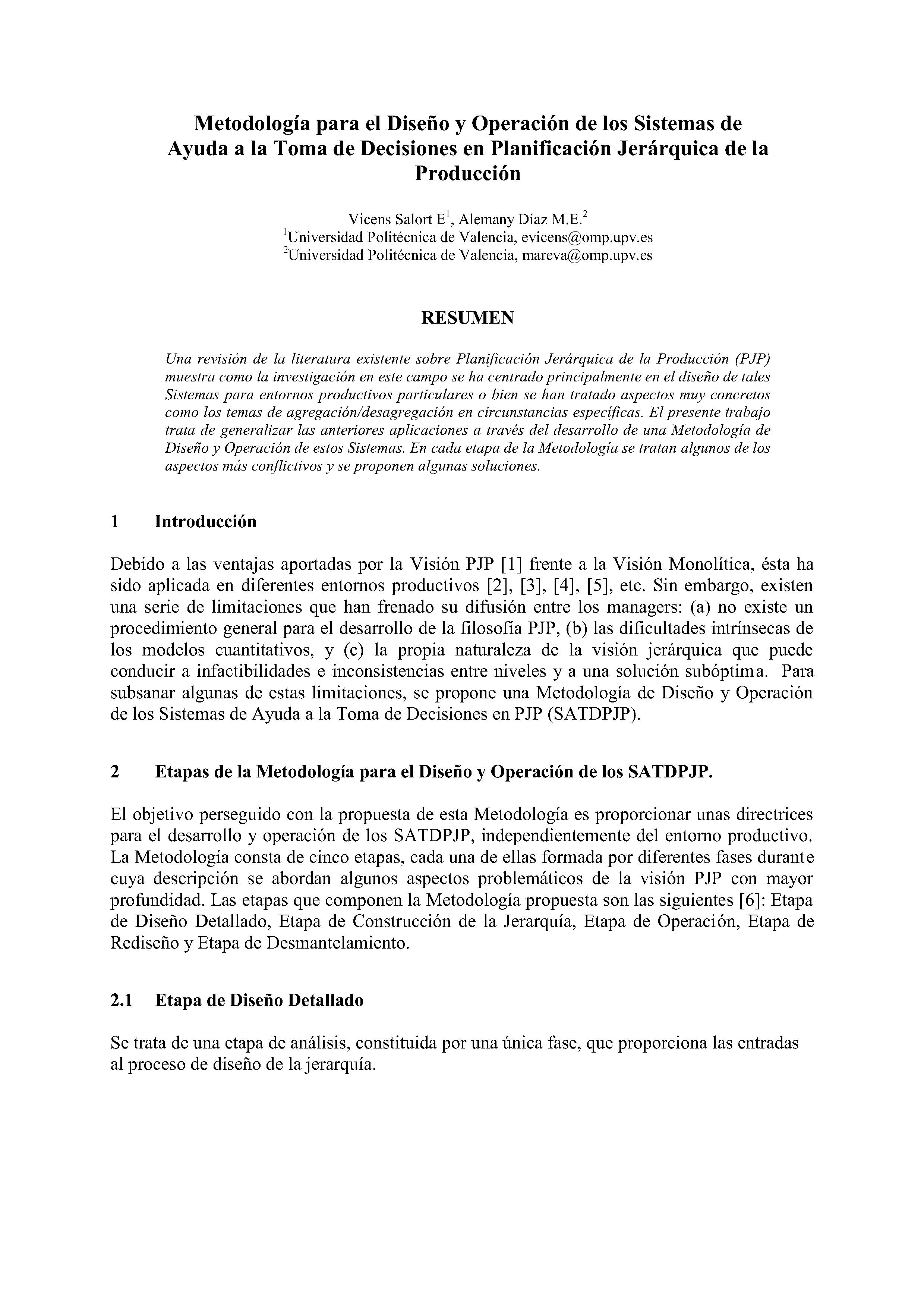 Metodología para el Diseño y Operación de los Sistemas de Ayuda a la Toma de Decisiones en Planificación Jerárquica de la Producción
