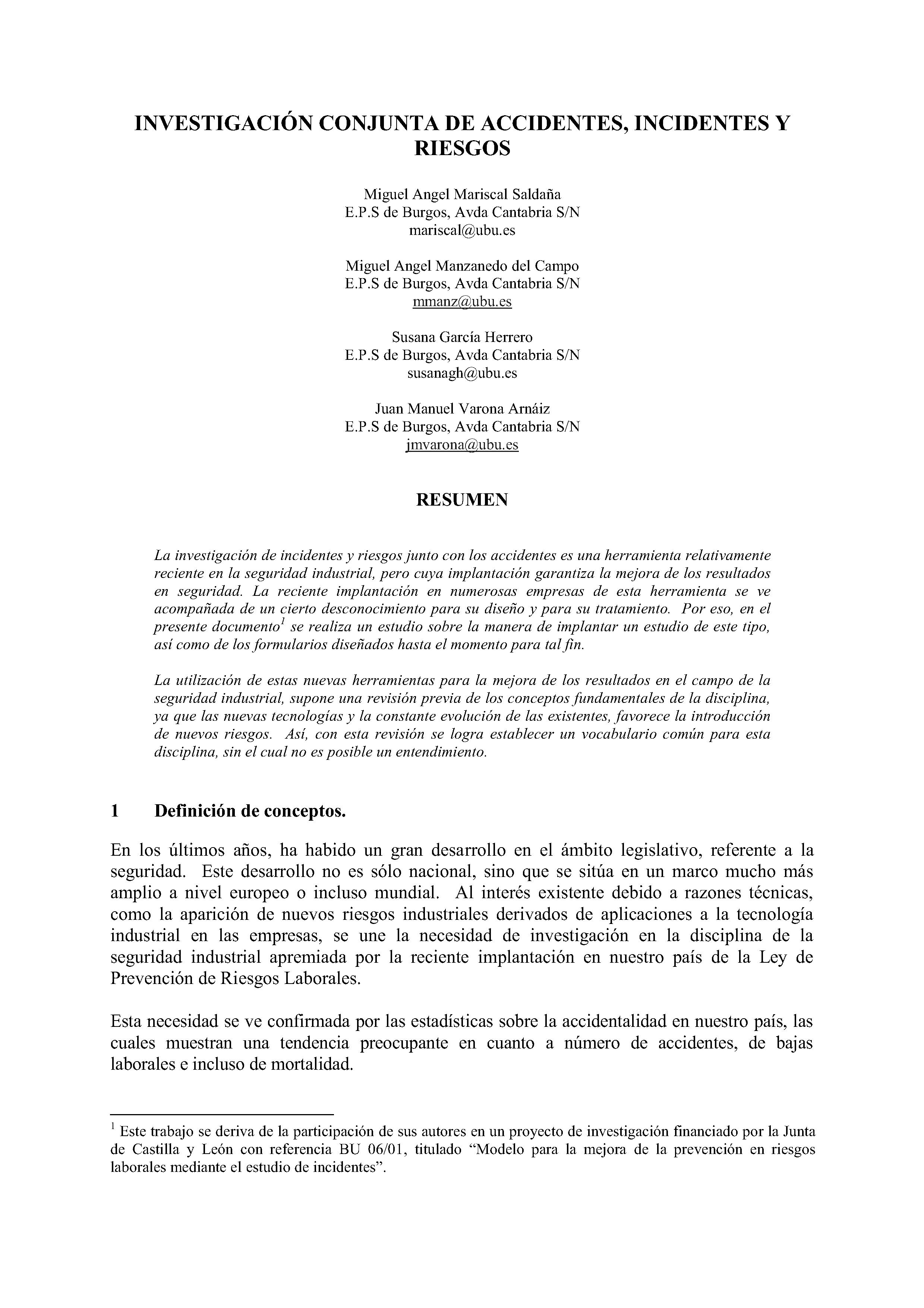 INVESTIGACIÓN CONJUNTA DE ACCIDENTES, INCIDENTES Y RIESGOS