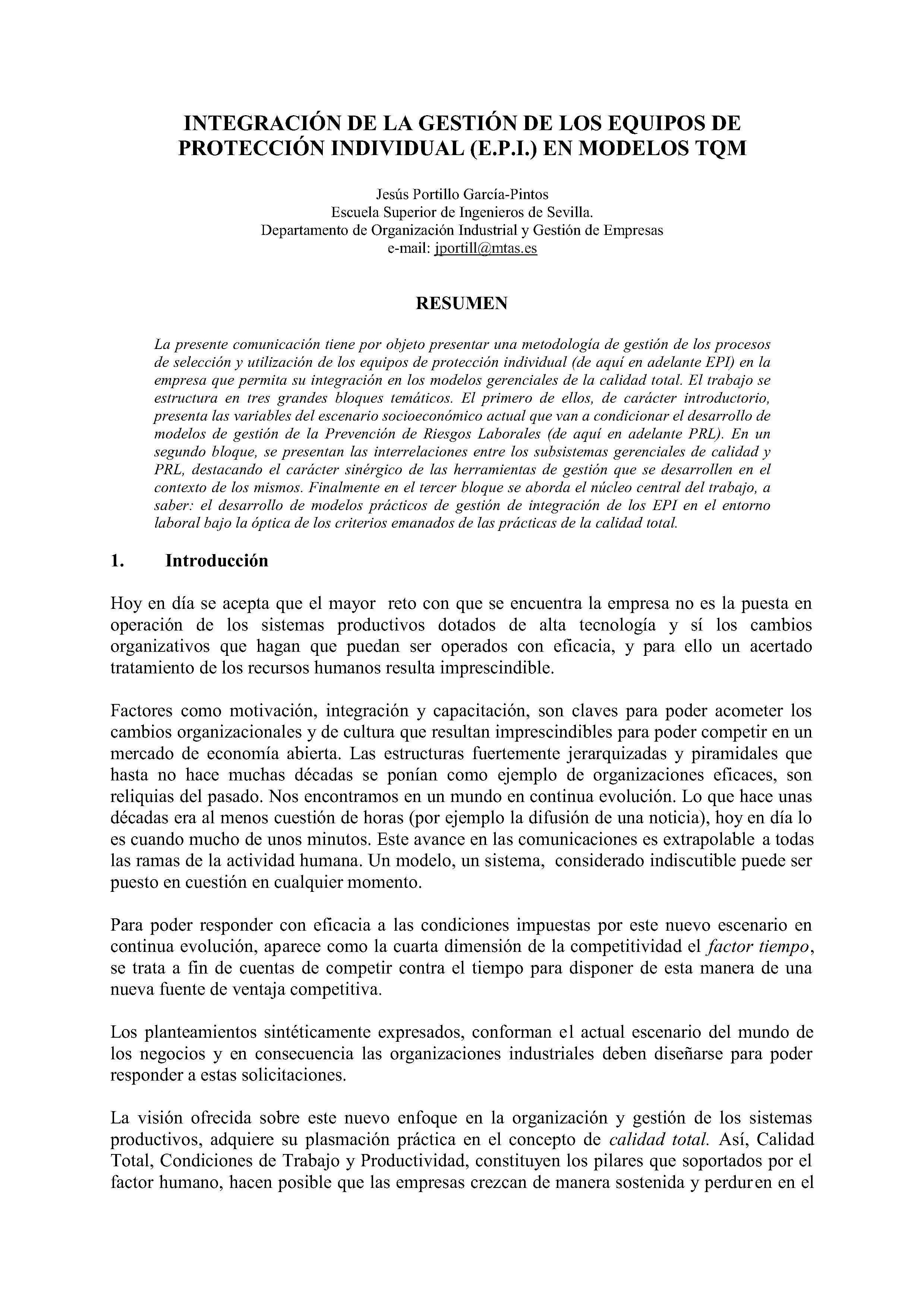 INTEGRACIÓN DE LA GESTIÓN DE LOS EQUIPOS DE PROTECCION INDIVIDUAL (E.P.I.) EN MODELOS TQM