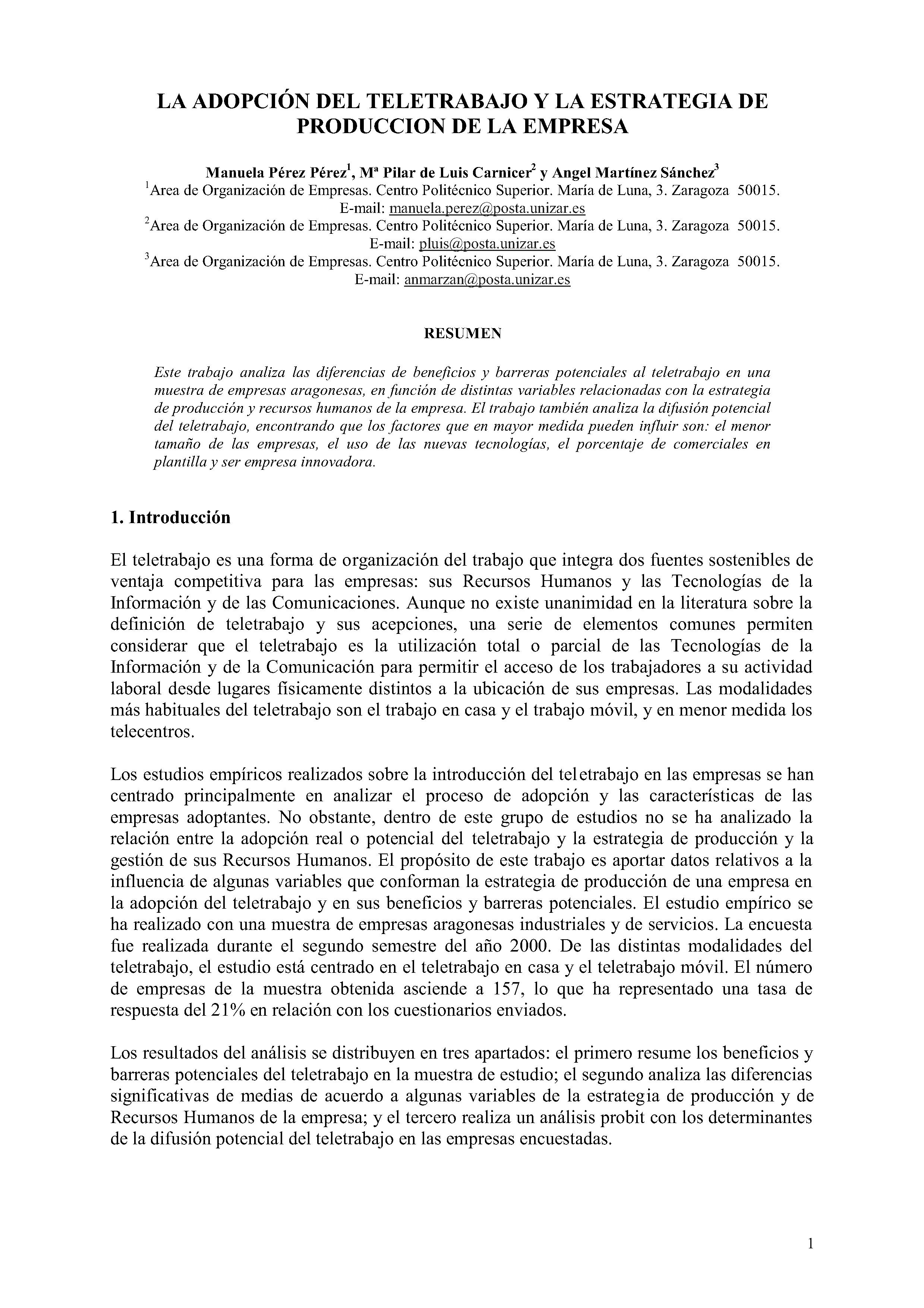 LA ADOPCIÓN DEL TELETRABAJO Y LA ESTRATEGIA DE PRODUCCION DE LA EMPRESA