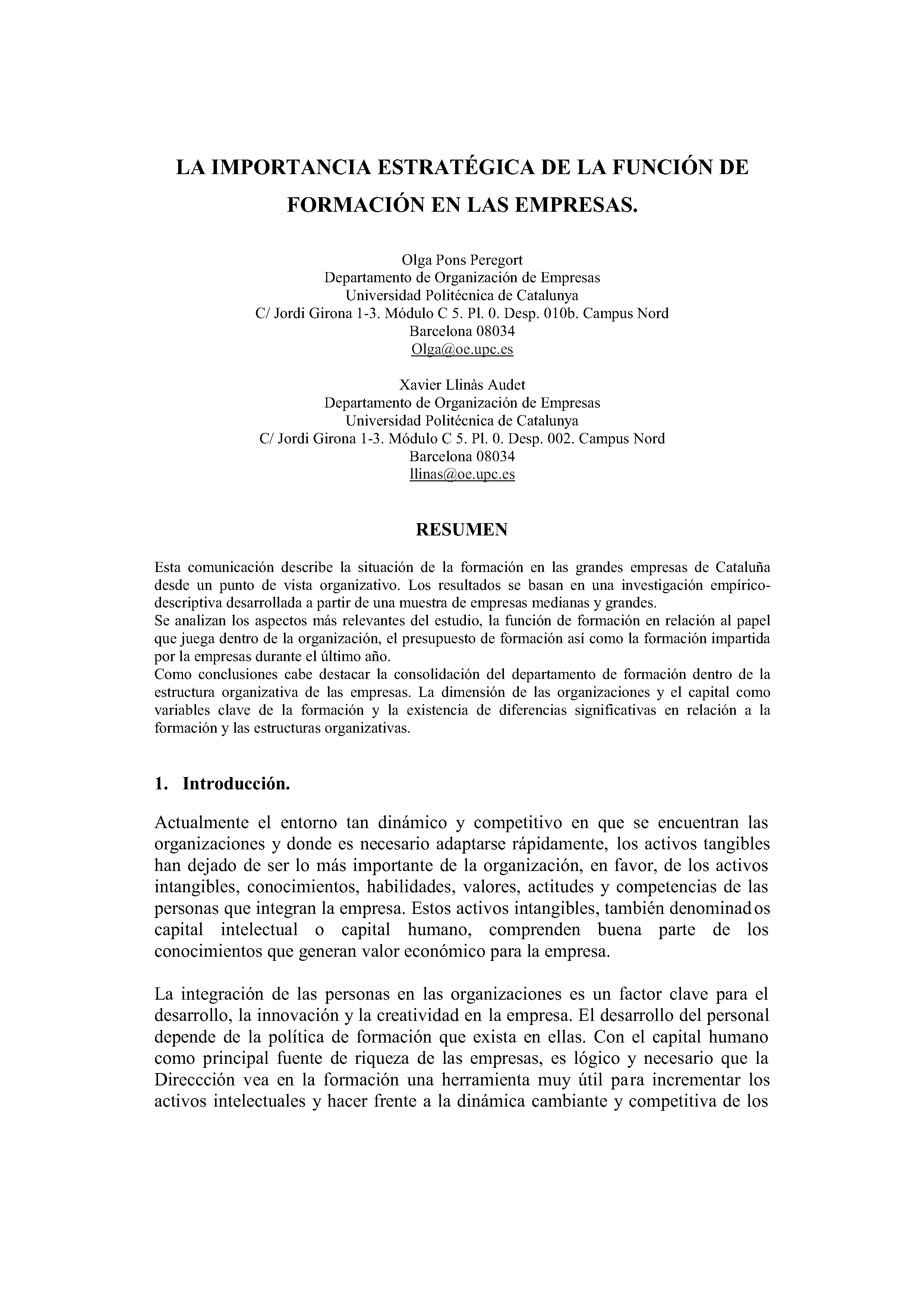 LA IMPORTANCIA ESTRATÉGICA DE LA FUNCIÓN DE FORMACIÓN EN LAS EMPRESAS.