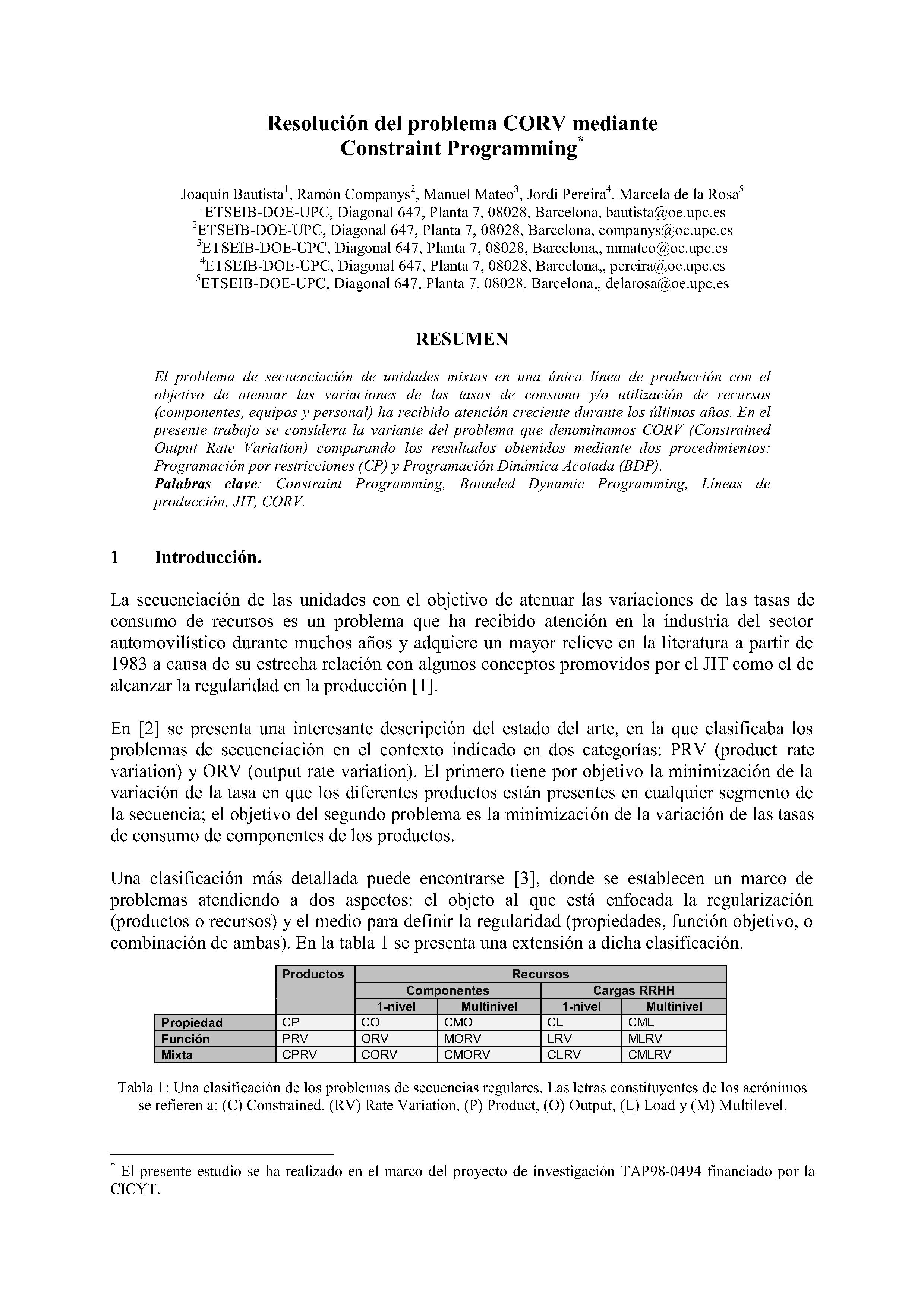 Resolución del problema CORV mediante Constraint Programming*