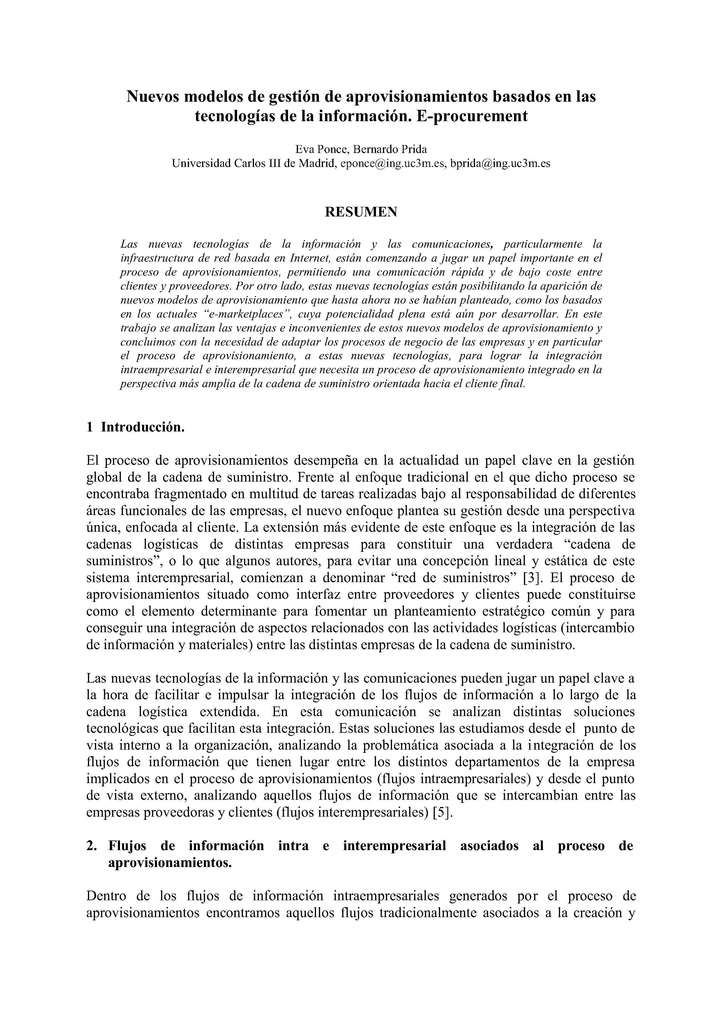 Nuevos modelos de gestión de aprovisionamientos basados en las tecnologías de la información. E-procurement