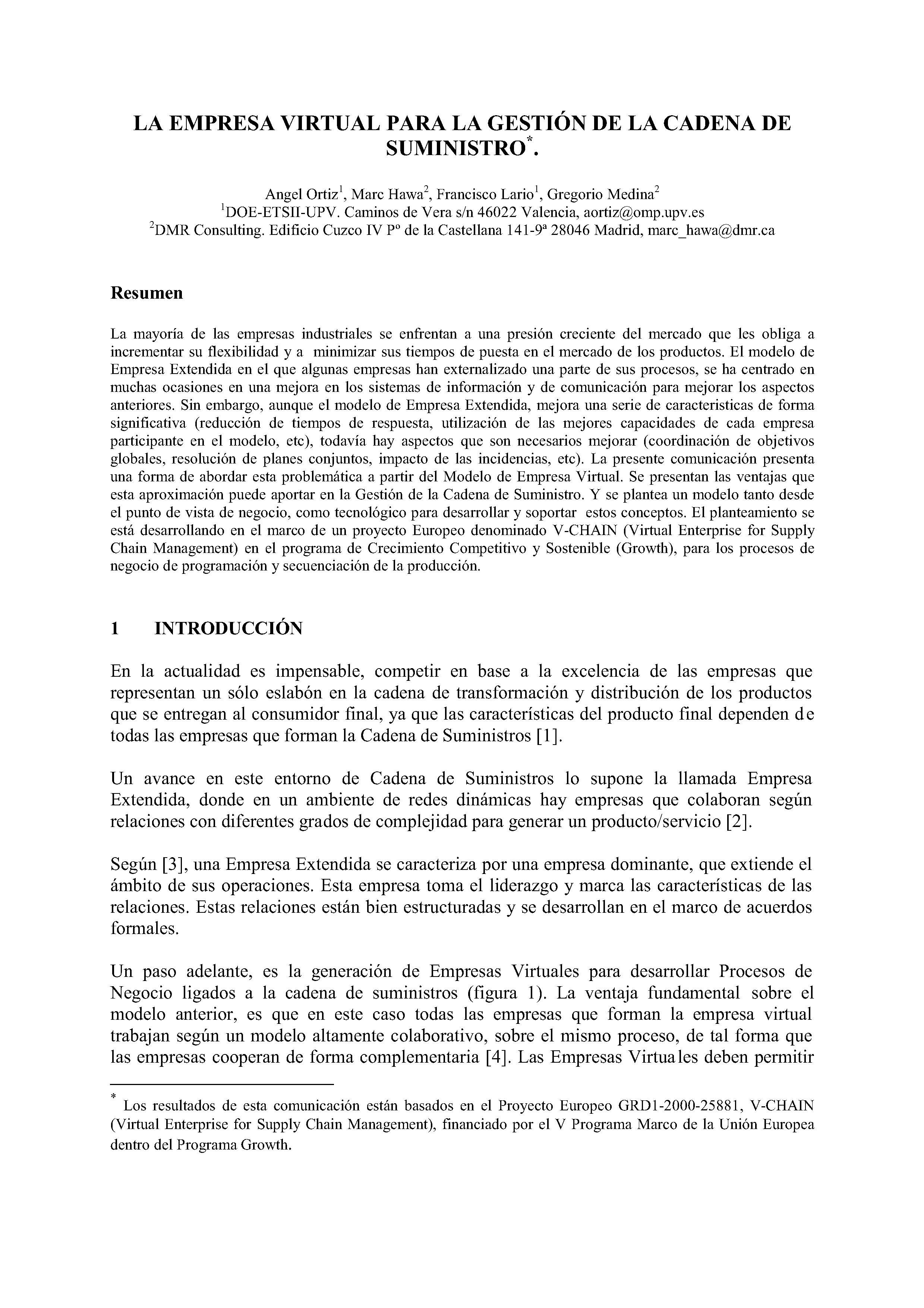 LA EMPRESA VIRTUAL PARA LA GESTIÓN DE LA CADENA DE SUMINISTRO.