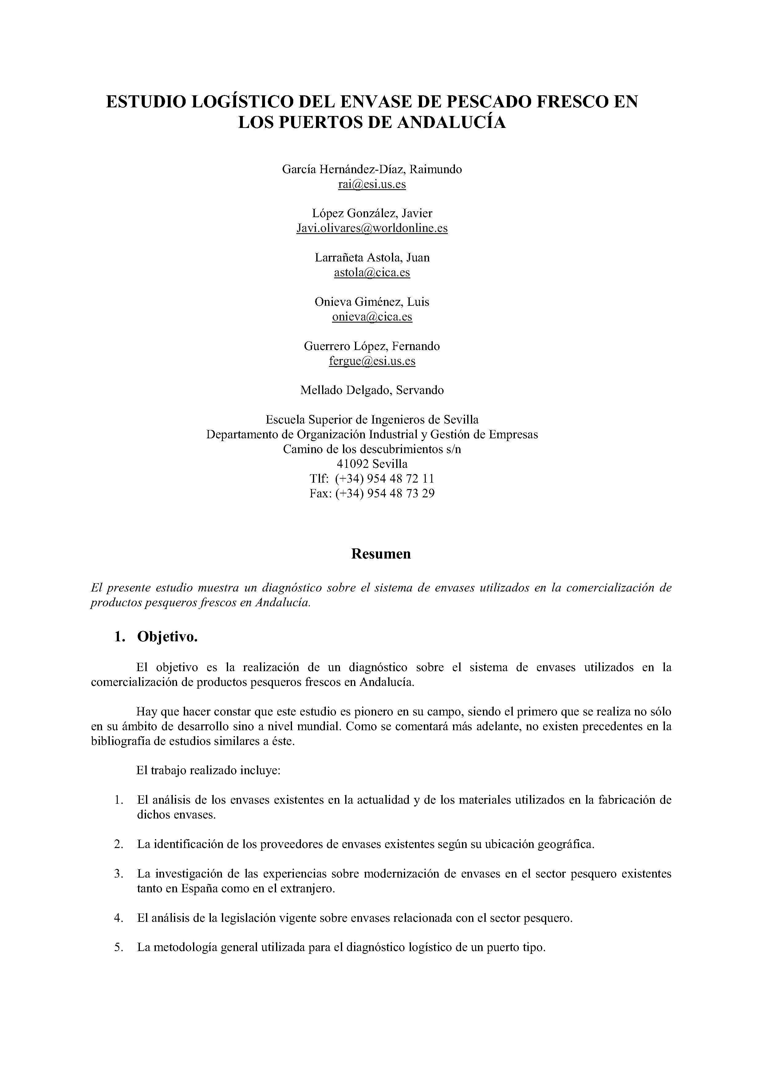 ESTUDIO LOGÍSTICO DEL ENVASE DE PESCADO FRESCO EN LOS PUERTOS DE ANDALUCÍA
