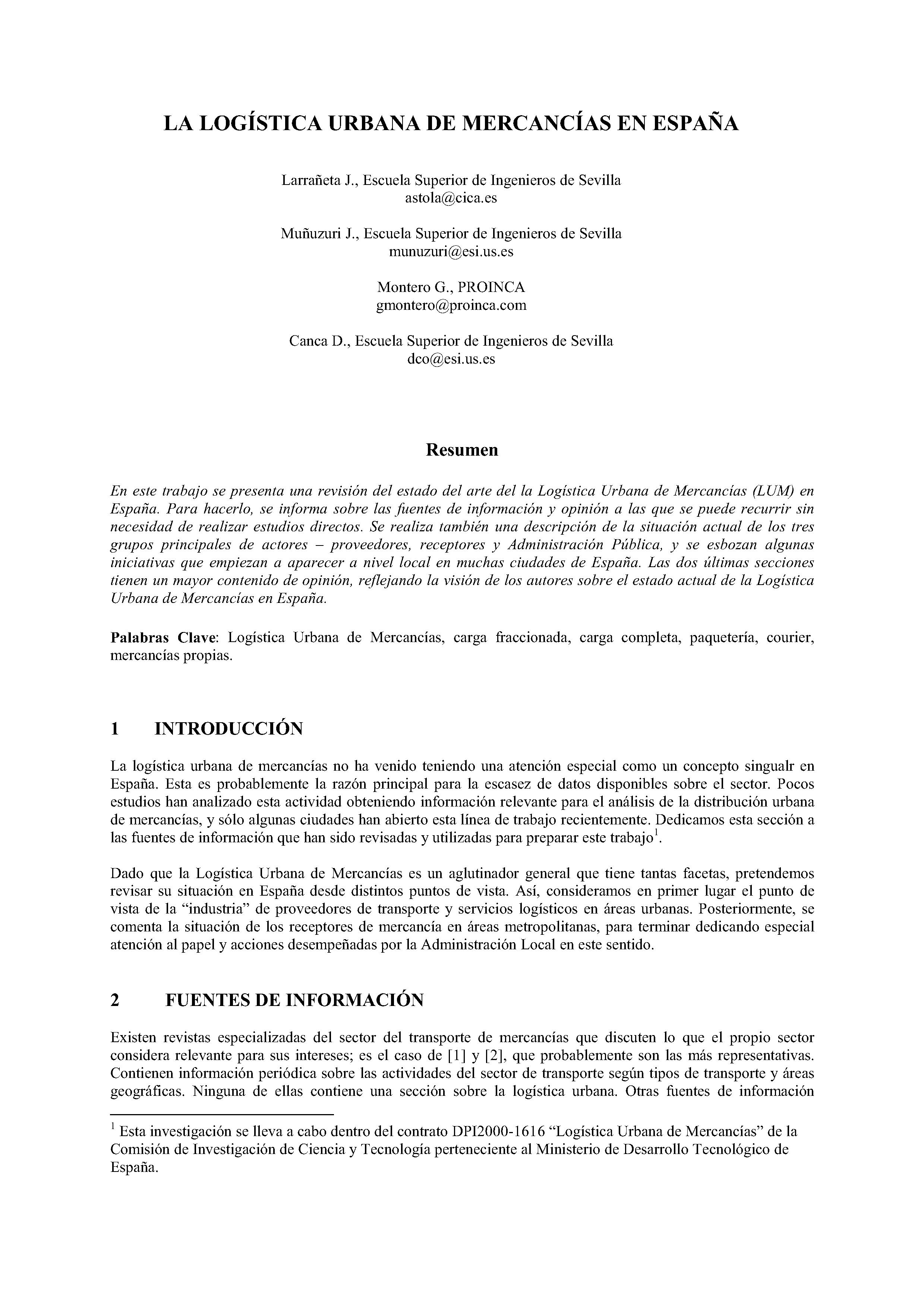 LA LOGÍSTICA URBANA DE MERCANCIAS EN ESPAÑA