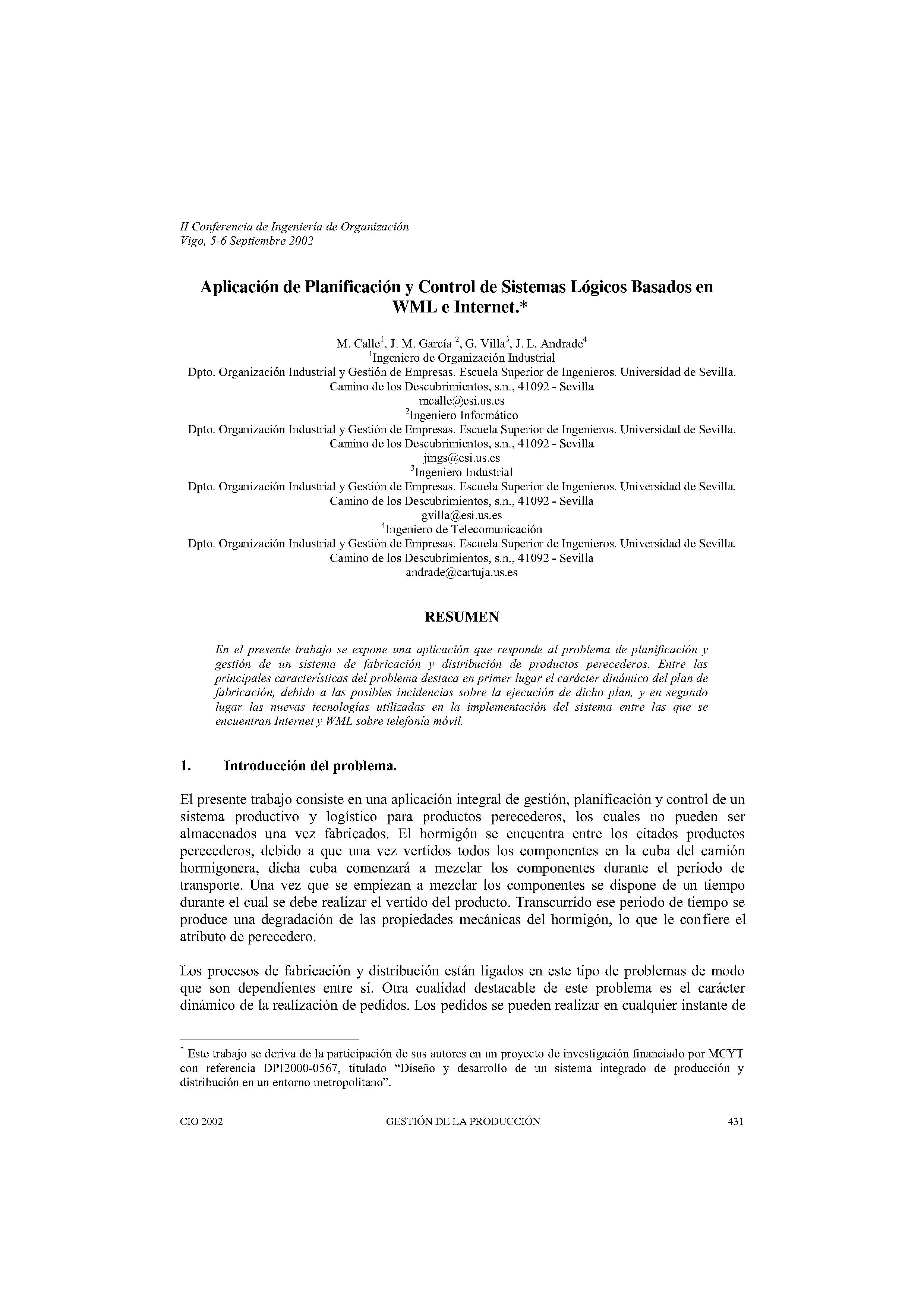 Aplicación de Planificación y Control de Sistemas Lógicos Basados en  WML e Internet.*