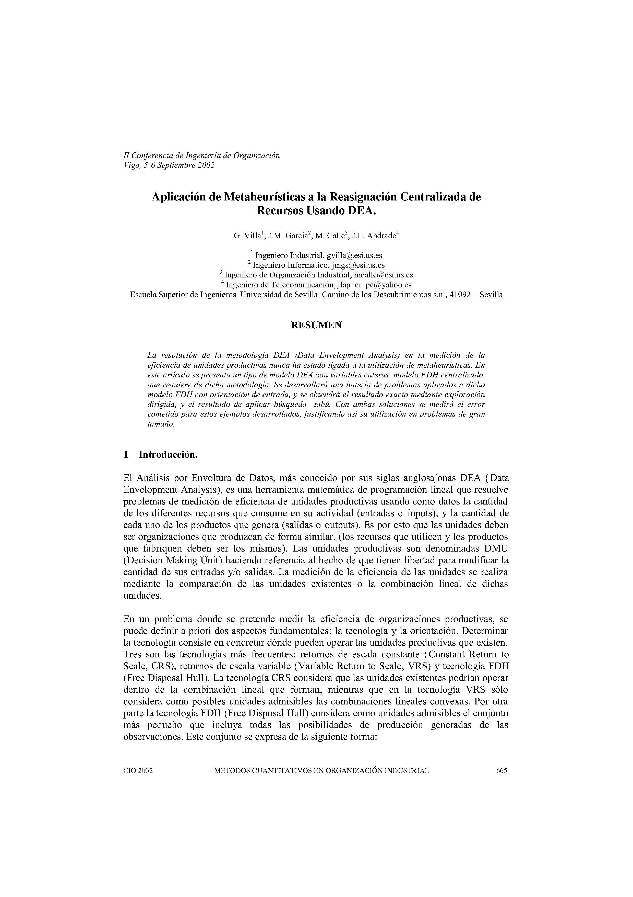 Aplicación de Metaheurísticas a la Reasignación Centralizada de  Recursos Usando DEA.