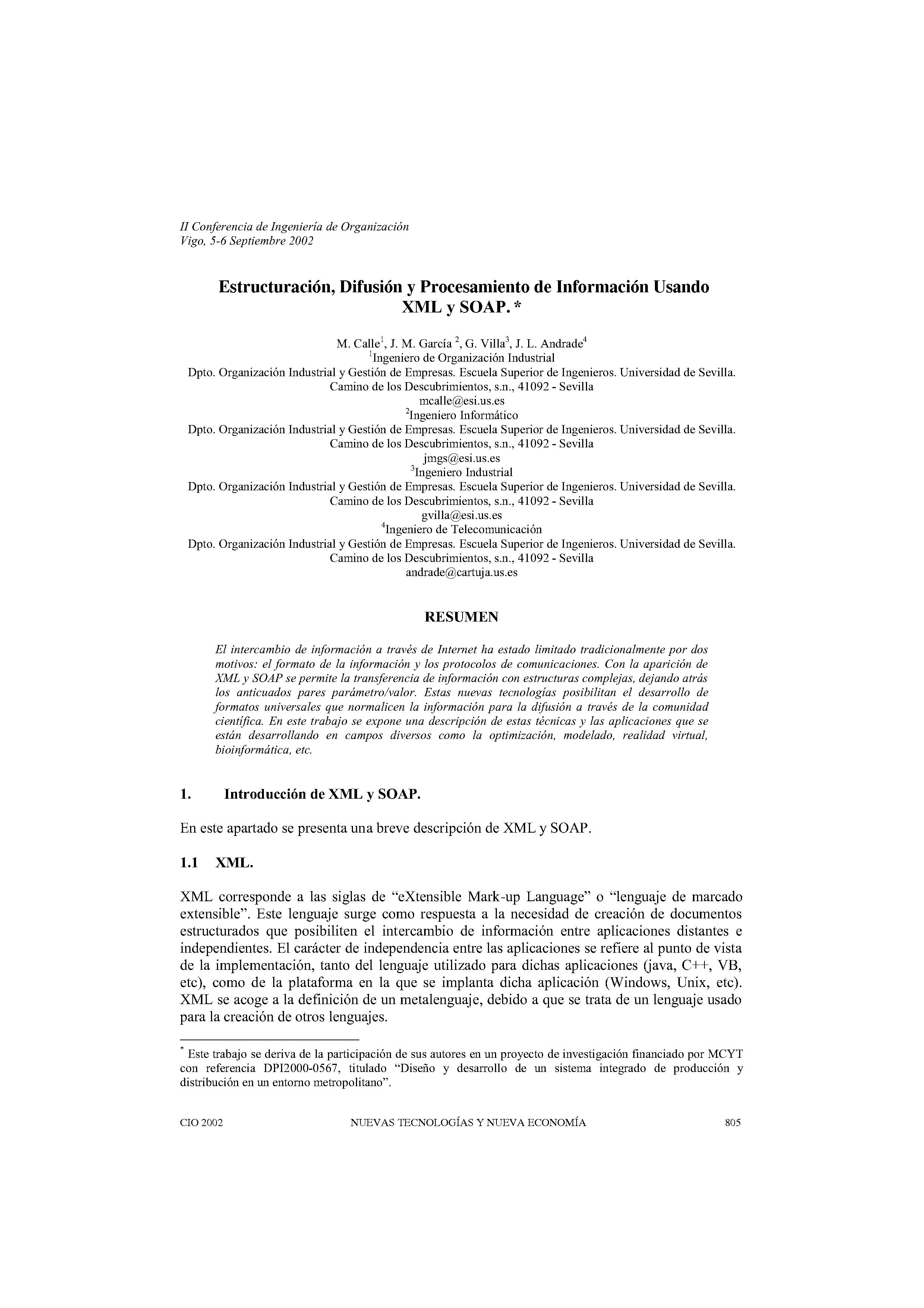 Estructuración, Difusión y Procesamiento de Información Usando  XML y SOAP. *
