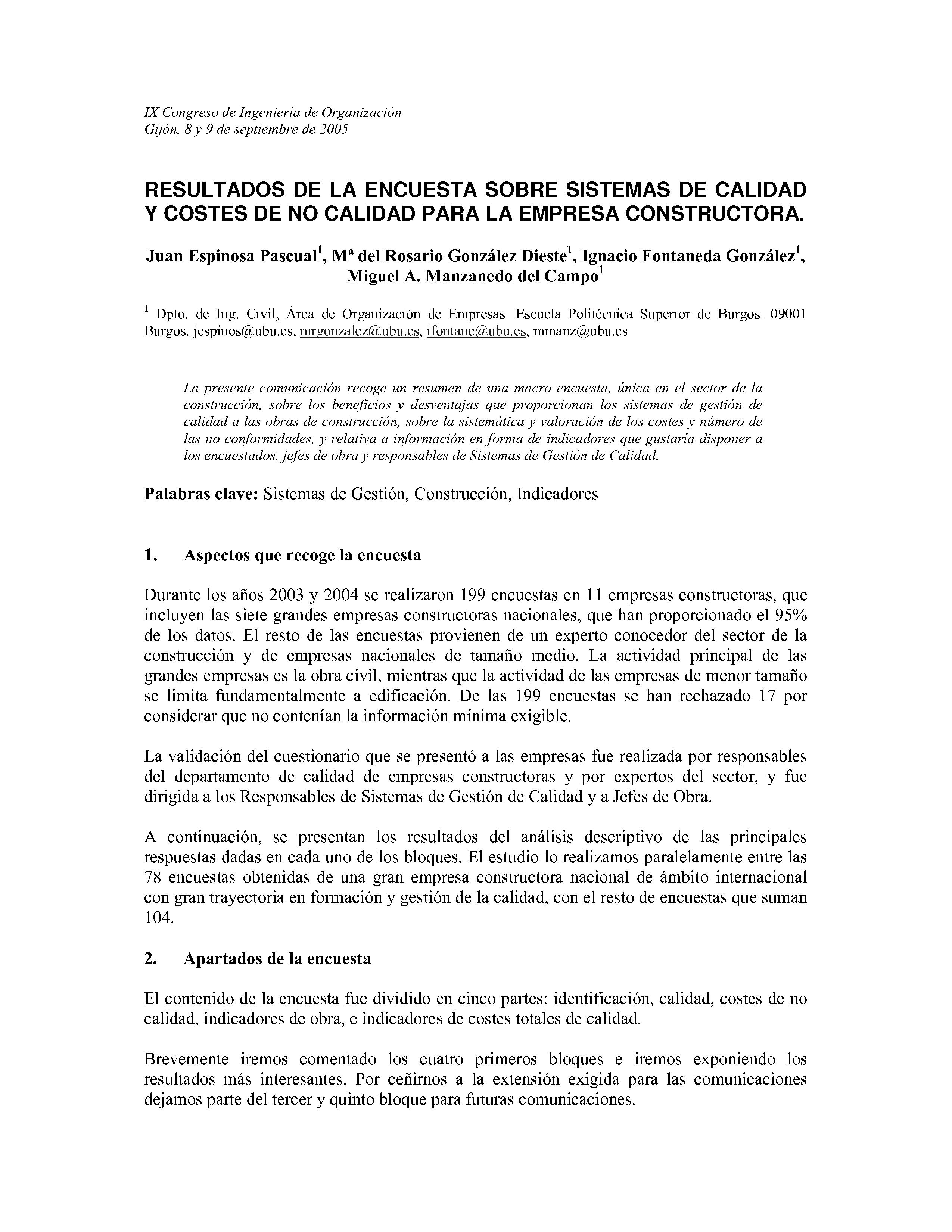 RESULTADOS DE LA ENCUESTA SOBRE SISTEMAS DE CALIDAD  Y COSTES DE NO CALIDAD PARA LA EMPRESA CONSTRUCTORA.