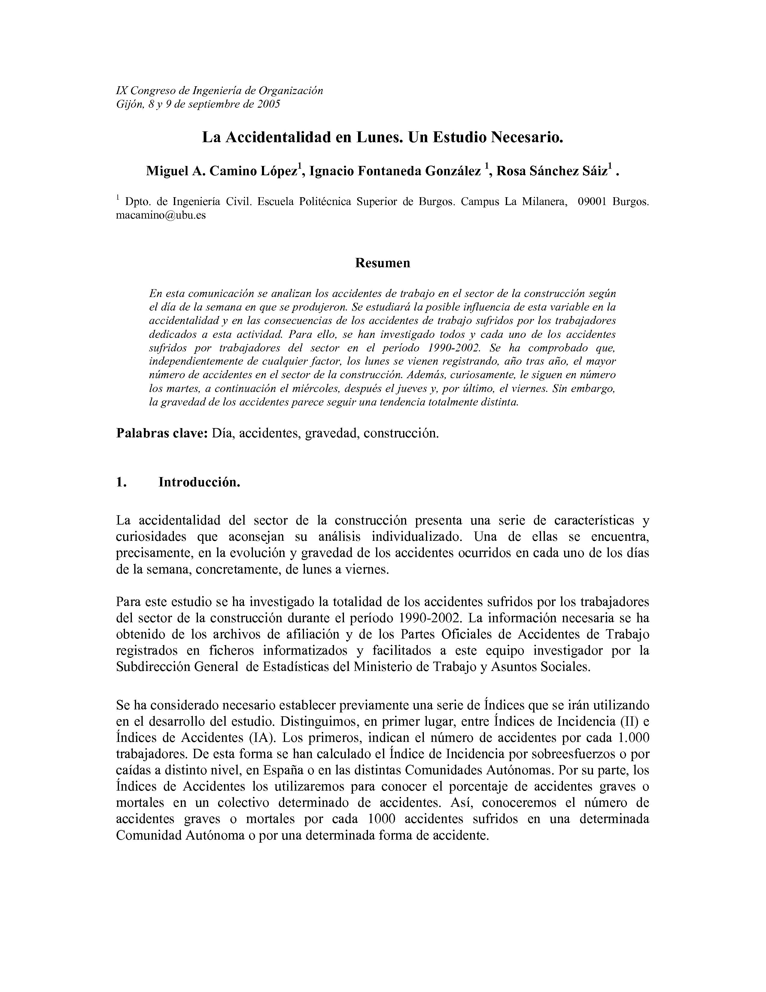 La Accidentalidad en Lunes. Un Estudio Necesario.