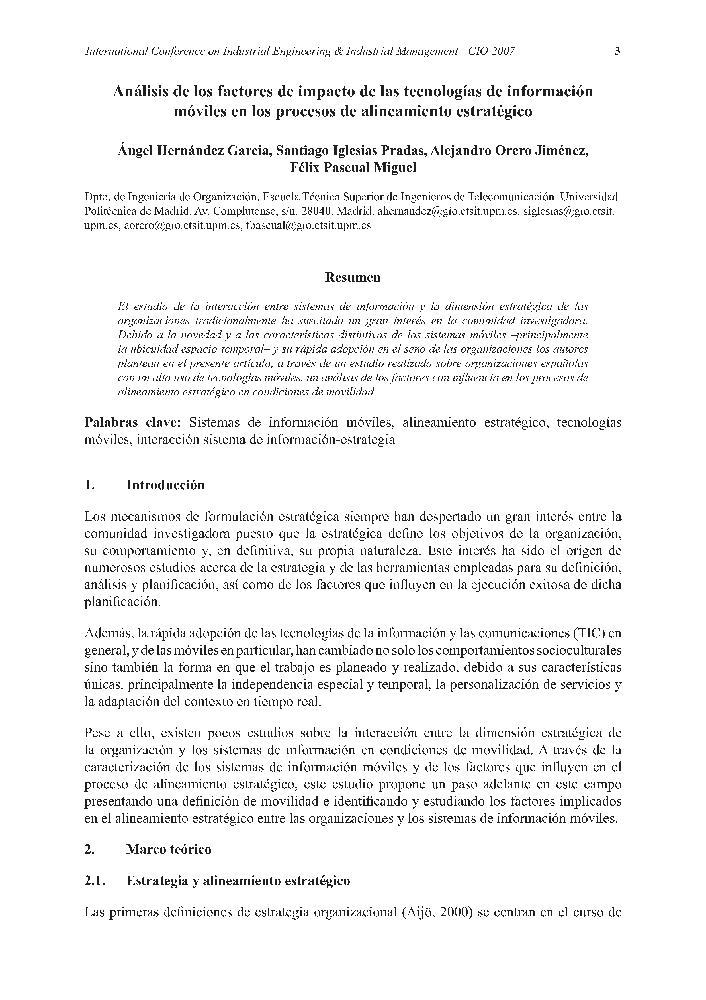 Análisis de los factores de impacto de las tecnologías de información  móviles en los procesos de alineamiento estratégico