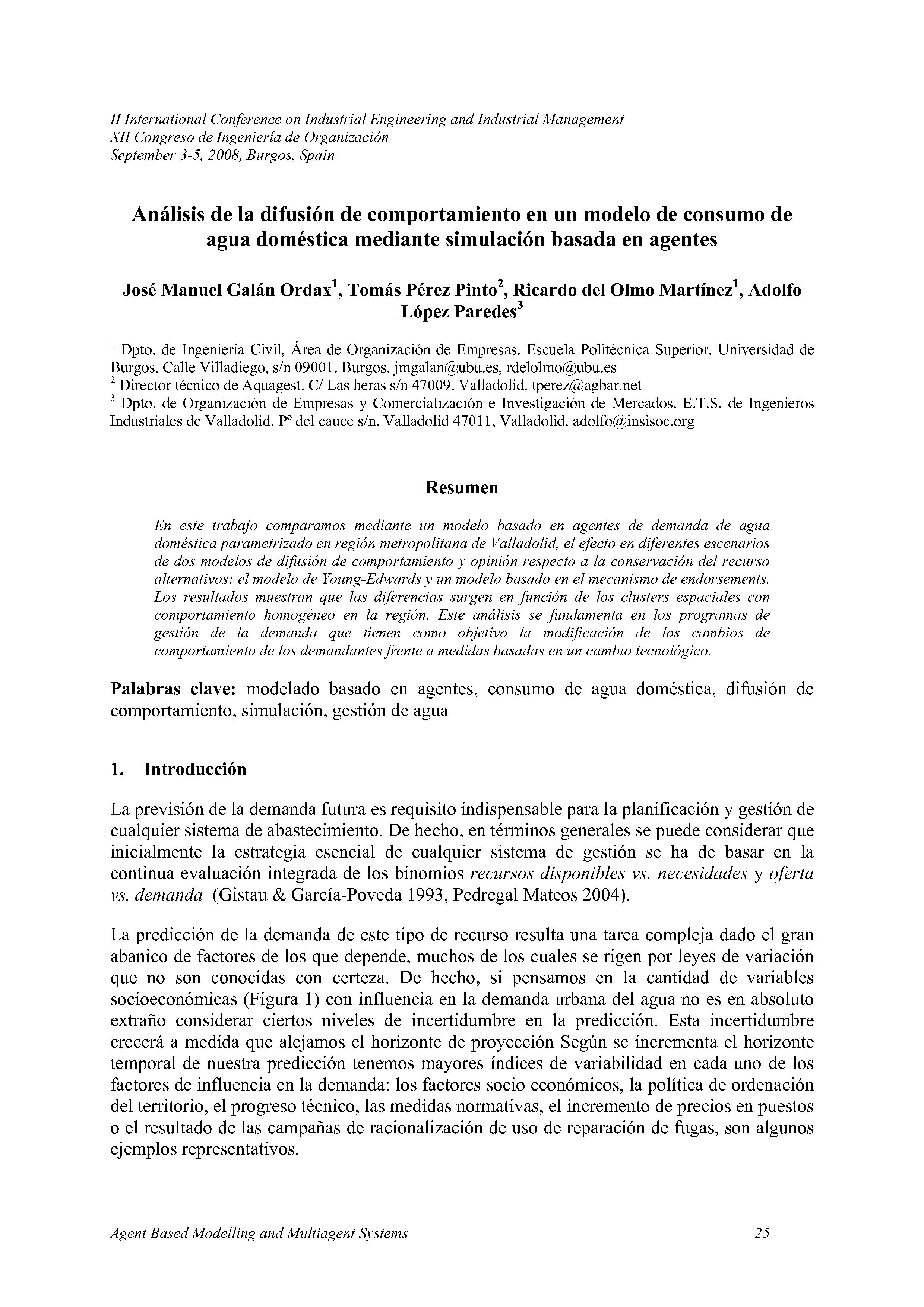 Análisis de la difusión de comportamiento en un modelo de consumo de  agua doméstica mediante simulación basada en agentes